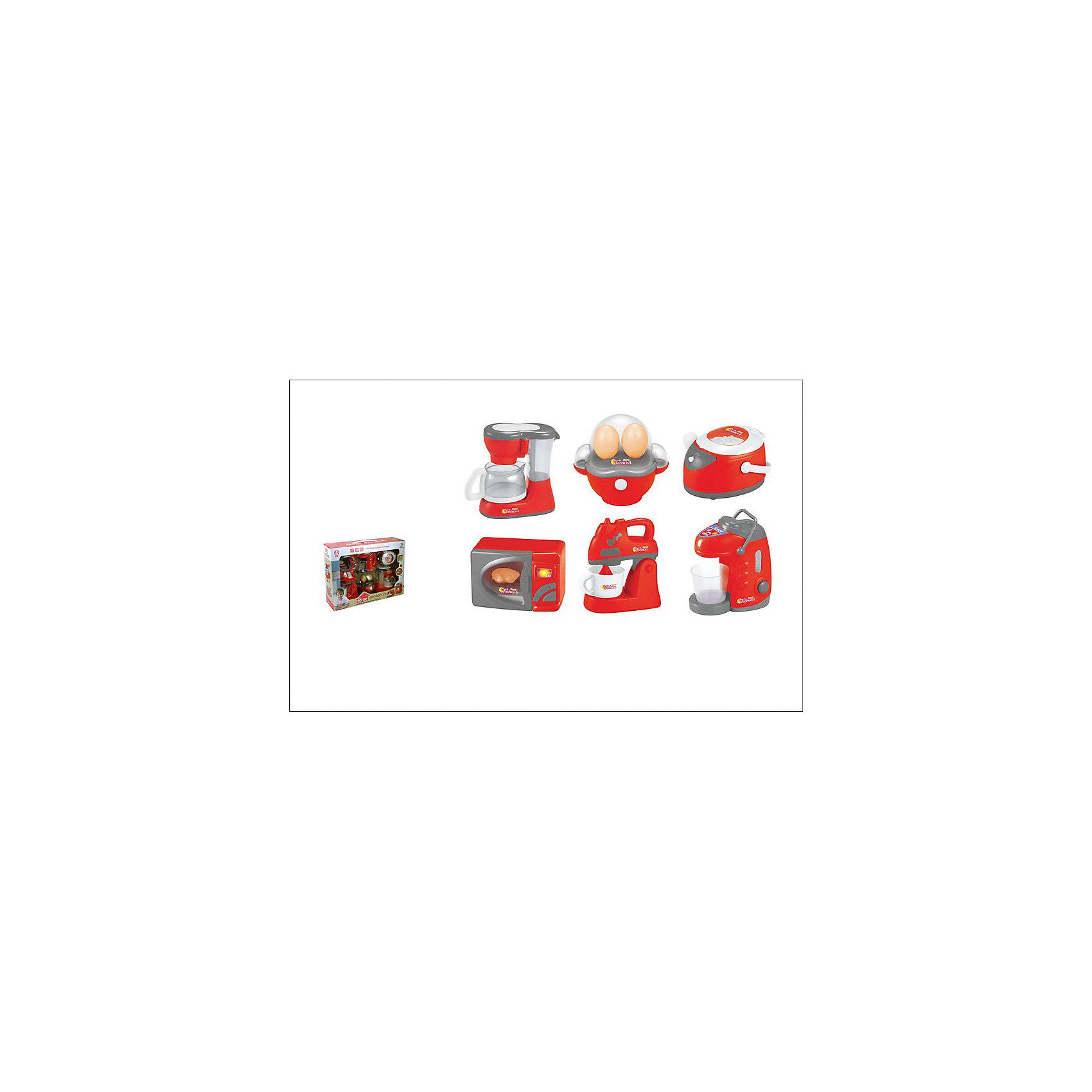 - Набор бытовой техники: кофеварка, яйцеварка, мультиварка, микроволновая печь, блендер,ти-пот, 38x9.5x28см, JUNFA