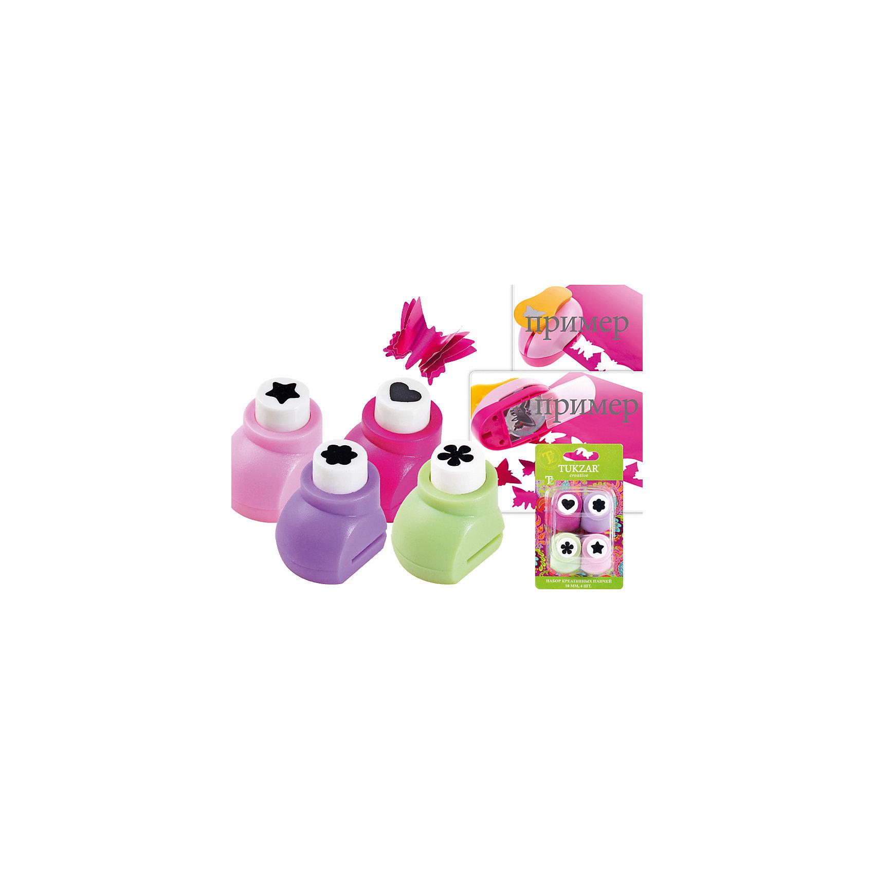 Набор креативных панчей (10 мм), 4 штНабор креативных панчей (10 мм), 4 шт от известного торгового бренда канцелярских товаров и товаров для творчества TUKZAR. Панчи – это дыроколы, позволяющие создавать фигурные конфетти или оформлять выбитыми узорами различные поделки из бумаги. Креативные панчи от TUKZAR выполнены в пластиковом корпусе, лезвия полностью закрыты, что обеспечивает безопасность даже для самых маленьких творцов. Ажурные дыроколы могут быть использованы для бумаги, тонкого картона или фольги.<br>Набор состоит из панчей с четырьмя разными узорами: звездочка, сердечко и 2 цветочка, упакованы в блистер.  <br><br>Дополнительная информация:<br><br>- Предназначение: для творческих занятий и оформительских работ <br>- Материал: пластик, металл<br>- Диаметр: 1 см<br>- Комплектация: 4 разноцветных панча с узорами звездочки, сердечка и 2 разных цветочка<br>- Упаковка: блистер<br><br>Подробнее:<br><br>• Для детей в возрасте: от 3 лет <br>• Страна производитель: Китай<br>• Торговый бренд: TUKZAR<br><br>Набор креативных панчей (10 мм), 4 шт можно купить в нашем интернет-магазине.<br><br>Ширина мм: 100<br>Глубина мм: 50<br>Высота мм: 50<br>Вес г: 400<br>Возраст от месяцев: 36<br>Возраст до месяцев: 192<br>Пол: Женский<br>Возраст: Детский<br>SKU: 5001378