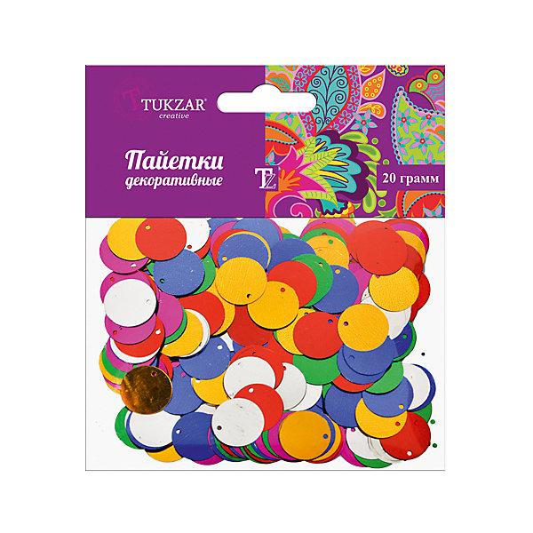 Круглые декоративные пайетки, 20 гПоследняя цена<br>Круглые декоративные пайетки, 20 г. от известного торгового бренда канцелярских товаров и товаров для творчества TUKZAR. Пайетки используются не только для оформления и декорирования, из них получаются красивые яркие вышивки и картины. Набор пайеток от TUKZAR отличается яркими и стойкими цветами, хорошим качеством и устойчивостью к деформациям. Набор упакован в блистер. <br><br>Дополнительная информация:<br><br>- Предназначение: для творческих занятий, оформительских работ, для вышивки и декорирования<br>- Материал: ПВХ<br>- Вес упаковки: 20 г.<br>- Цвет: микс<br>- Упаковка: блистер<br><br>Подробнее:<br><br>• Для детей в возрасте: от 5 лет <br>• Страна производитель: Китай<br>• Торговый бренд: TUKZAR<br><br>Круглые декоративные пайетки, 20 г. можно купить в нашем интернет-магазине.<br><br>Ширина мм: 60<br>Глубина мм: 20<br>Высота мм: 20<br>Вес г: 20<br>Возраст от месяцев: 36<br>Возраст до месяцев: 192<br>Пол: Унисекс<br>Возраст: Детский<br>SKU: 5001389