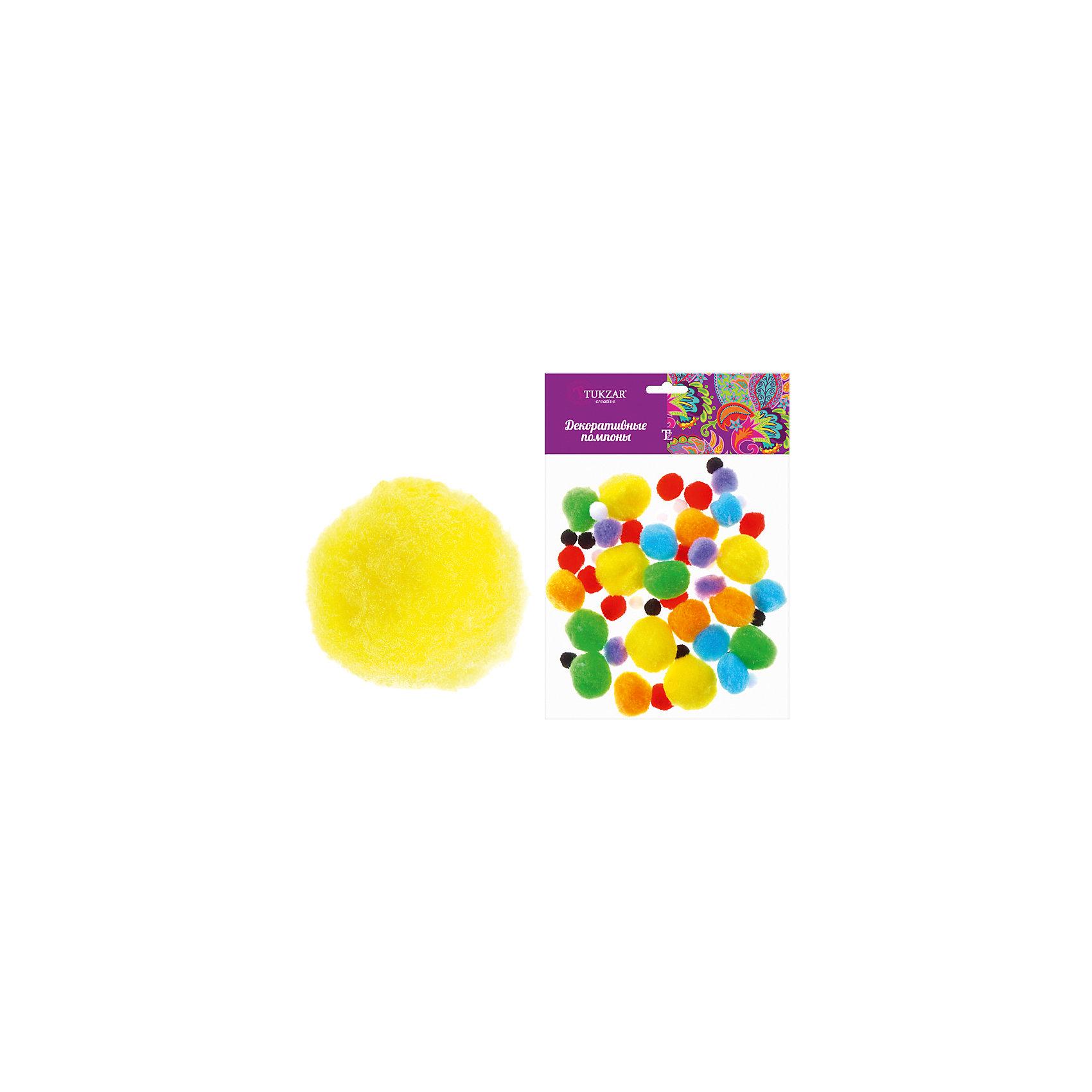 Декоративные помпоны, 55 шт, цвета в ассортименте