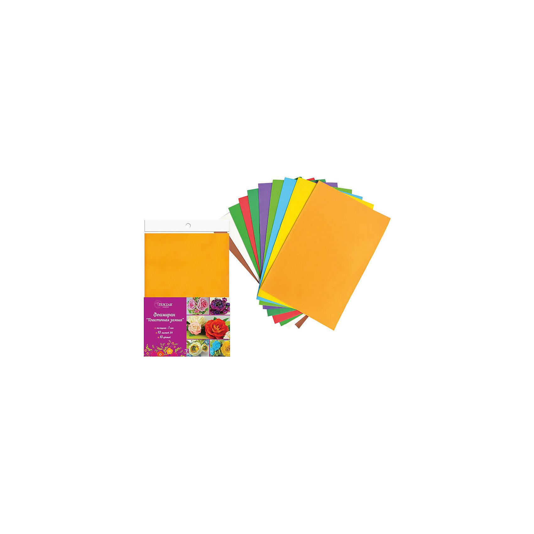 Набор фоамирана (пластичной замши) А4, 10 цветовРукоделие<br>Набор фоамирана (пластичной замши) А4, 10 цветов от известного торгового бренда канцелярских товаров и товаров для творчества TUKZAR. Набор включает в себя 10 листов пластичной замши разного цвета. Этот материал широко используется в декративно-прикладном творчестве за счет своих свойств: он легко поддается обработке, готовые изделия из фоамирана характеризуются высокой износоустойчивостью, а благодаря тому, что он абсолютно нетоксичен, этот материал широко используют на занятиях творчеством с детьми. <br>Набор фоамирана (пластичной замши) А4, 10 цветов – это высокое качество материалов для творчества, которые подарят вдохновение не только детям, но и взрослым! <br><br>Дополнительная информация:<br><br>- Предназначение: для детского творчества, для аппликаций, для создания цветов и цветочных композиций, для декорирования<br>- Материал: фоамиран<br>- Комплектация: 10 листов разного цвета<br>- Размеры (Д*Ш*В): 21*0,1*29,7 см<br>- Упаковка: полиэтилен<br><br>Подробнее:<br><br>• Для детей в возрасте: от 5 лет <br>• Страна производитель: Китай<br>• Торговый бренд: TUKZAR<br><br>Набор фоамирана (пластичной замши) А4, 10 цветов можно купить в нашем интернет-магазине.<br><br>Ширина мм: 220<br>Глубина мм: 180<br>Высота мм: 20<br>Вес г: 200<br>Возраст от месяцев: 36<br>Возраст до месяцев: 192<br>Пол: Унисекс<br>Возраст: Детский<br>SKU: 5001420