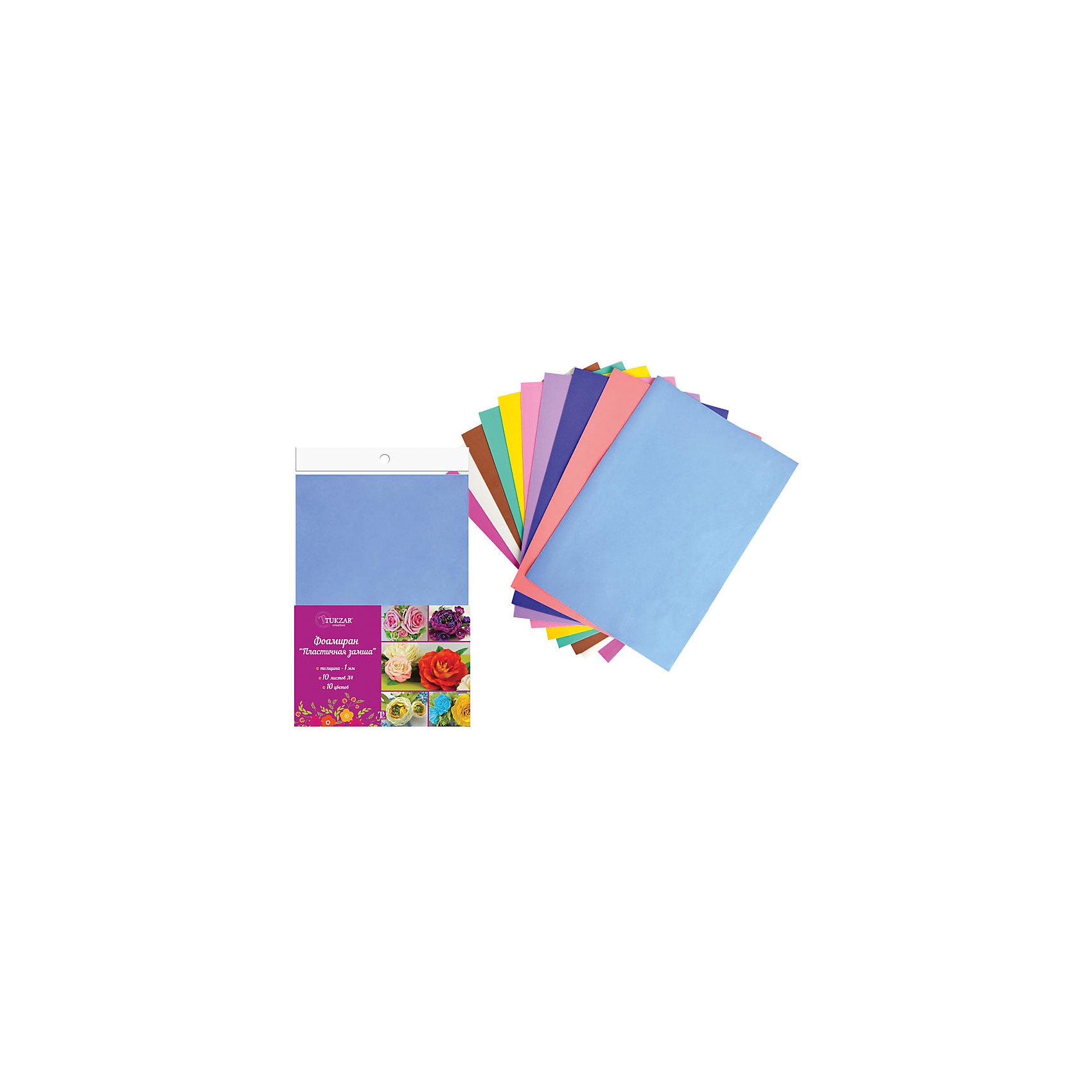 Набор фоамирана (пластичной замши) А4, 10 цветовНабор фоамирана (пластичной замши) А4, 10 цветов от известного торгового бренда канцелярских товаров и товаров для творчества TUKZAR. Набор включает в себя 10 листов пластичной замши разного цвета. Этот материал широко используется в декративно-прикладном творчестве за счет своих свойств: он легко поддается обработке, готовые изделия из фоамирана характеризуются высокой износоустойчивостью, а благодаря тому, что он абсолютно нетоксичен, этот материал широко используют на занятиях творчеством с детьми. <br>Набор фоамирана (пластичной замши) А4, 10 цветов – это высокое качество материалов для творчества, которые подарят вдохновение не только детям, но и взрослым! <br><br>Дополнительная информация:<br><br>- Предназначение: для детского творчества, для аппликаций, для создания цветов и цветочных композиций, для декорирования<br>- Материал: фоамиран<br>- Комплектация: 10 листов разного цвета<br>- Размеры (Д*Ш*В): 21*0,1*29,7 см<br>- Упаковка: полиэтилен<br><br>Подробнее:<br><br>• Для детей в возрасте: от 5 лет <br>• Страна производитель: Китай<br>• Торговый бренд: TUKZAR<br><br>Набор фоамирана (пластичной замши) А4, 10 цветов можно купить в нашем интернет-магазине.<br><br>Ширина мм: 220<br>Глубина мм: 180<br>Высота мм: 20<br>Вес г: 200<br>Возраст от месяцев: 36<br>Возраст до месяцев: 192<br>Пол: Унисекс<br>Возраст: Детский<br>SKU: 5001421