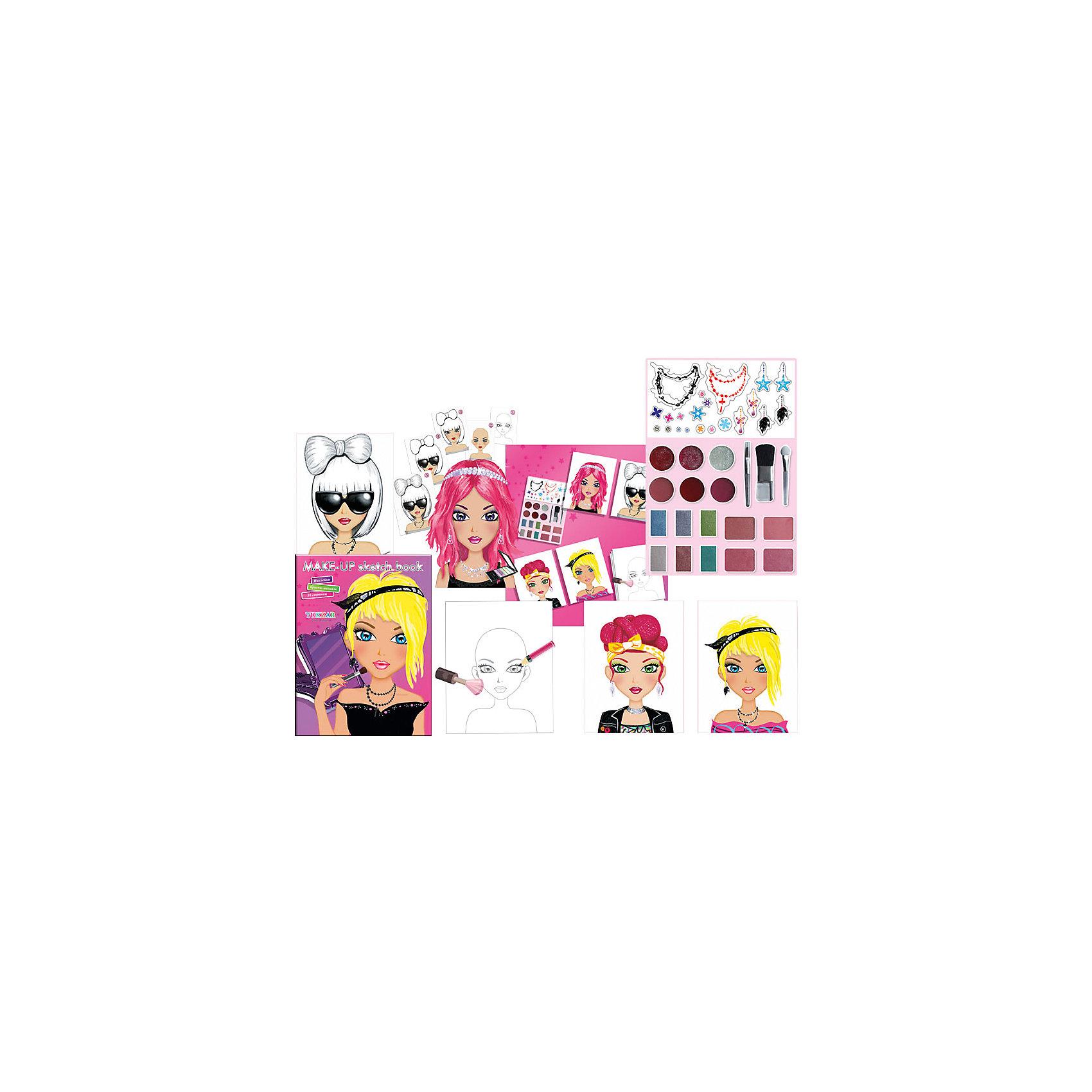 Альбом для творчества Юный визажист с косметикой и наклейкамиАльбом для творчества Юный визажист с косметикой и наклейками от известного торгового бренда канцелярских товаров и товаров для творчества TUKZAR. О таком наборе мечтает любая девочка, ведь в нем настоящая косметика и аксессуары, которые позволят создавать всевозможные образы для модниц! Все материалы, использованные в комплекте нетоксичны и безопасны. Альбом для творчества Юный визажист научит вашу девочку подбирать цвета, работать с различными фактурами, будет способствовать развитию воображения. <br>Альбом для творчества Юный визажист с косметикой и наклейками – идеальный подарок к любому празднику! <br><br>Дополнительная информация:<br><br>- Предназначение: для творческих занятий<br>- Пол: для девочки<br>- Комплектация: альбом, косметика (палетка с тенями, кисточки), наклейки <br>- Размеры (Д*Ш): 19*24 см<br>- Упаковка: полиэтилен<br><br>Подробнее:<br><br>• Для детей в возрасте: от 5 лет <br>• Страна производитель: Китай<br>• Торговый бренд: TUKZAR<br><br>Альбом для творчества Юный визажист с косметикой и наклейками можно купить в нашем интернет-магазине.<br><br>Ширина мм: 240<br>Глубина мм: 190<br>Высота мм: 20<br>Вес г: 100<br>Возраст от месяцев: 36<br>Возраст до месяцев: 132<br>Пол: Женский<br>Возраст: Детский<br>SKU: 5001442