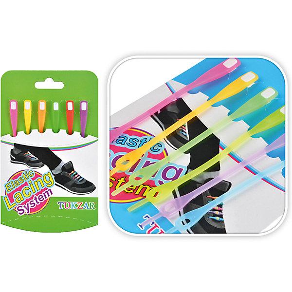 Цветные резиновые шнурки для обуви, 6 штОбувь<br>Цветные резиновые шнурки для обуви, 6 шт от известного торгового бренда канцелярских товаров и товаров для творчества TUKZAR позволят создать индивидуальный стиль для вашей любимой обуви. Шнурки выполнены из яркой цветной резины, нетоксичны и безопасны.<br><br>Дополнительная информация:<br><br>- Предназначение: для декорирования обуви<br>- Материал: ПВХ<br>- Комплектация: 6 разноцветных шнурков<br>- Упаковка: картон<br><br>Подробнее:<br><br>• Для детей в возрасте: от 5 лет <br>• Страна производитель: Китай<br>• Торговый бренд: TUKZAR<br><br>Цветные резиновые шнурки для обуви, 6 шт можно купить в нашем интернет-магазине.<br>Ширина мм: 100; Глубина мм: 100; Высота мм: 20; Вес г: 100; Возраст от месяцев: 36; Возраст до месяцев: 2147483647; Пол: Унисекс; Возраст: Детский; SKU: 5001478;