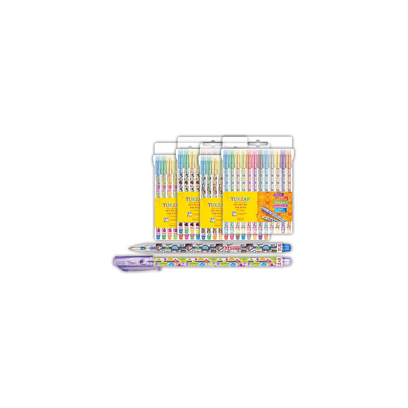 TUKZAR Набор гелевых ручек с блестками Мираж, 12 цветов tukzar tukzar набор шариковых ручек  10 цветов