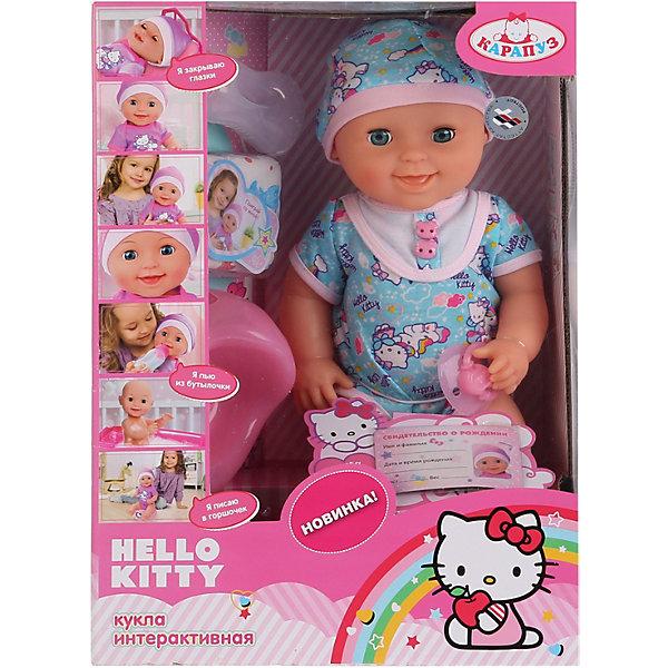 Пупс Hello Kitty, 40см, 3 функции, КарапузHello Kitty<br>Пупс Hello Kitty,3 функции станет отличным подарком для маленькой девочки. Игра с таким пупсом будет достаточно реалистичной, благодаря функциям куклы. Кукла сможет пить из бутылочки, а затем пописать в горшок или подгузник. Игра с пупсом научит девочку заботиться о младших и позволит чувствовать себя уже совсем взрослой и самостоятельной. <br><br>В комплект входит:<br>-кукла в комбинезоне и шапочке<br>-бутылочка <br>-горшок<br>-соска<br>-подгузник<br><br>Дополнительная информация:<br>-Возраст: от 3 лет<br>-Высота: 40 см<br>-Вес: 1,23 кг<br>-Марка: Карапуз<br><br>Пупс Hello Kitty, 40см, 3 функции, Карапуз можно приобрести в нашем интернет-магазине.<br>Ширина мм: 160; Глубина мм: 280; Высота мм: 390; Вес г: 1230; Возраст от месяцев: 36; Возраст до месяцев: 2147483647; Пол: Женский; Возраст: Детский; SKU: 5002202;