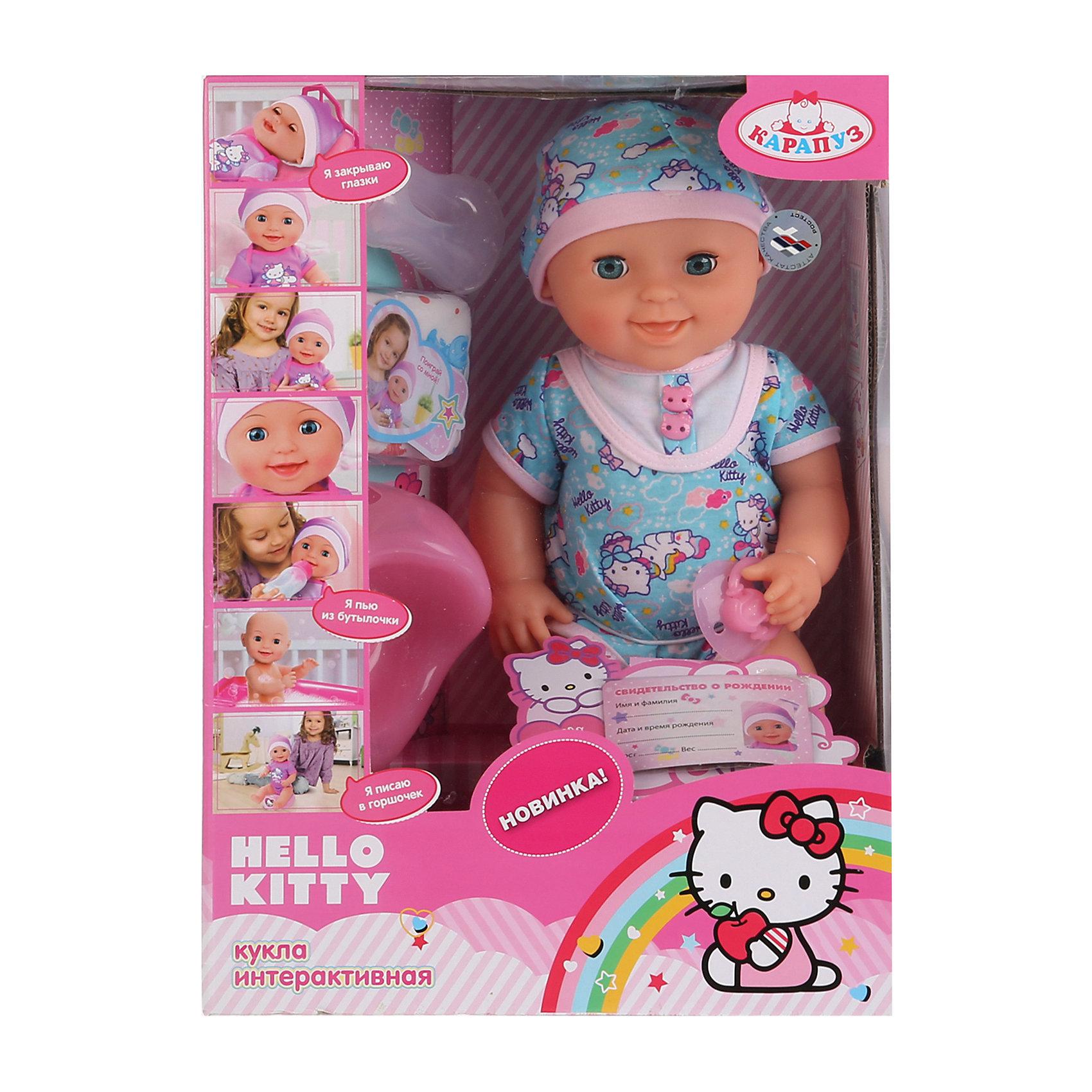 Пупс Hello Kitty, 40см, 3 функции, КарапузПупс Hello Kitty,3 функции станет отличным подарком для маленькой девочки. Игра с таким пупсом будет достаточно реалистичной, благодаря функциям куклы. Кукла сможет пить из бутылочки, а затем пописать в горшок или подгузник. Игра с пупсом научит девочку заботиться о младших и позволит чувствовать себя уже совсем взрослой и самостоятельной. <br><br>В комплект входит:<br>-кукла в комбинезоне и шапочке<br>-бутылочка <br>-горшок<br>-соска<br>-подгузник<br><br>Дополнительная информация:<br>-Возраст: от 3 лет<br>-Высота: 40 см<br>-Вес: 1,23 кг<br>-Марка: Карапуз<br><br>Пупс Hello Kitty, 40см, 3 функции, Карапуз можно приобрести в нашем интернет-магазине.<br><br>Ширина мм: 160<br>Глубина мм: 280<br>Высота мм: 390<br>Вес г: 1230<br>Возраст от месяцев: 36<br>Возраст до месяцев: 2147483647<br>Пол: Женский<br>Возраст: Детский<br>SKU: 5002202