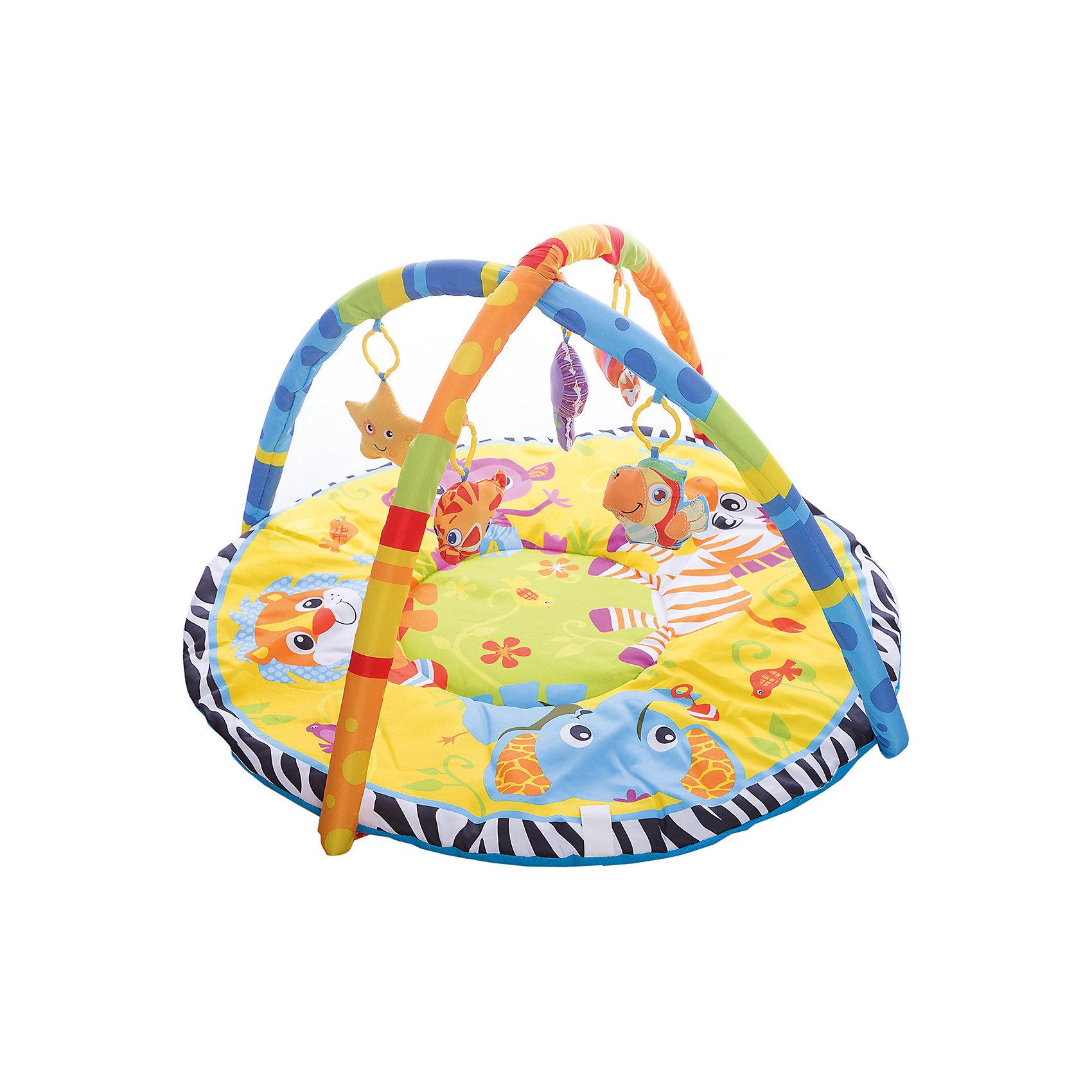 Детский игровой коврик с мягкими игрушками на подвеске, УмкаДетский игровой коврик с мягкими игрушками на подвеске изготовлен из мягкого текстиля с уплотнением и оформлен яркими изображениями забавных зверят. На цветных полукруглых дугах прикреплены привлекательные игрушки, которые можно снять и играть с ними отдельно. <br>Развивающий коврик подарит ребенку возможность весело провести время дома или на свежем воздухе. А также поможет в игровой форме развить цветовое и зрительное восприятие, мелкую моторику рук и координацию движения.<br> <br>В комплект входит:<br>-коврик<br>-две дуги<br>-подвесные игрушки<br><br>Дополнительная информация:<br>-Вес: 1,13 кг<br>-Возраст: от 6 месяцев<br>-Материал: текстиль пластик<br>-Марка: Умка<br><br>Детский игровой коврик с мягкими игрушками на подвеске, Умка можно приобрести в нашем интернет-магазине.<br><br>Ширина мм: 80<br>Глубина мм: 460<br>Высота мм: 580<br>Вес г: 1130<br>Возраст от месяцев: 36<br>Возраст до месяцев: 2147483647<br>Пол: Унисекс<br>Возраст: Детский<br>SKU: 5002206