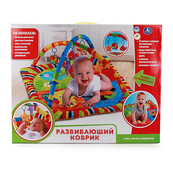 Детский игровой коврик с мягкими игрушками на подвеске, УмкаРазвивающие коврики<br>Игрушки могут не только развлекать малыша, но и помогать его всестороннему развитию. Этот коврик предназначен для формирования разных навыков, он помогает развить тактильное восприятие, цветовосприятие, научиться ориентироваться в пространстве, а также укрепить вестибюлярный аппарат.<br>Изделие представляет собой текстильный коврик с дугами над ним, к которым можно прикрепить множество игрушек. Сделан комплект из качественных материалов, безопасных для ребенка.<br><br>Дополнительная информация:<br><br>цвет: разноцветный;<br>материал: текстиль, пластик;<br>комплектация: коврик, съемные дуги, 5 погремушек;<br>размер коврика: 830 х 830 мм.<br><br>Детский игровой коврик с мягкими игрушками на подвеске от бренда Умка можно купить в нашем магазине.<br><br>Ширина мм: 80<br>Глубина мм: 460<br>Высота мм: 580<br>Вес г: 1190<br>Возраст от месяцев: 36<br>Возраст до месяцев: 2147483647<br>Пол: Унисекс<br>Возраст: Детский<br>SKU: 5002207