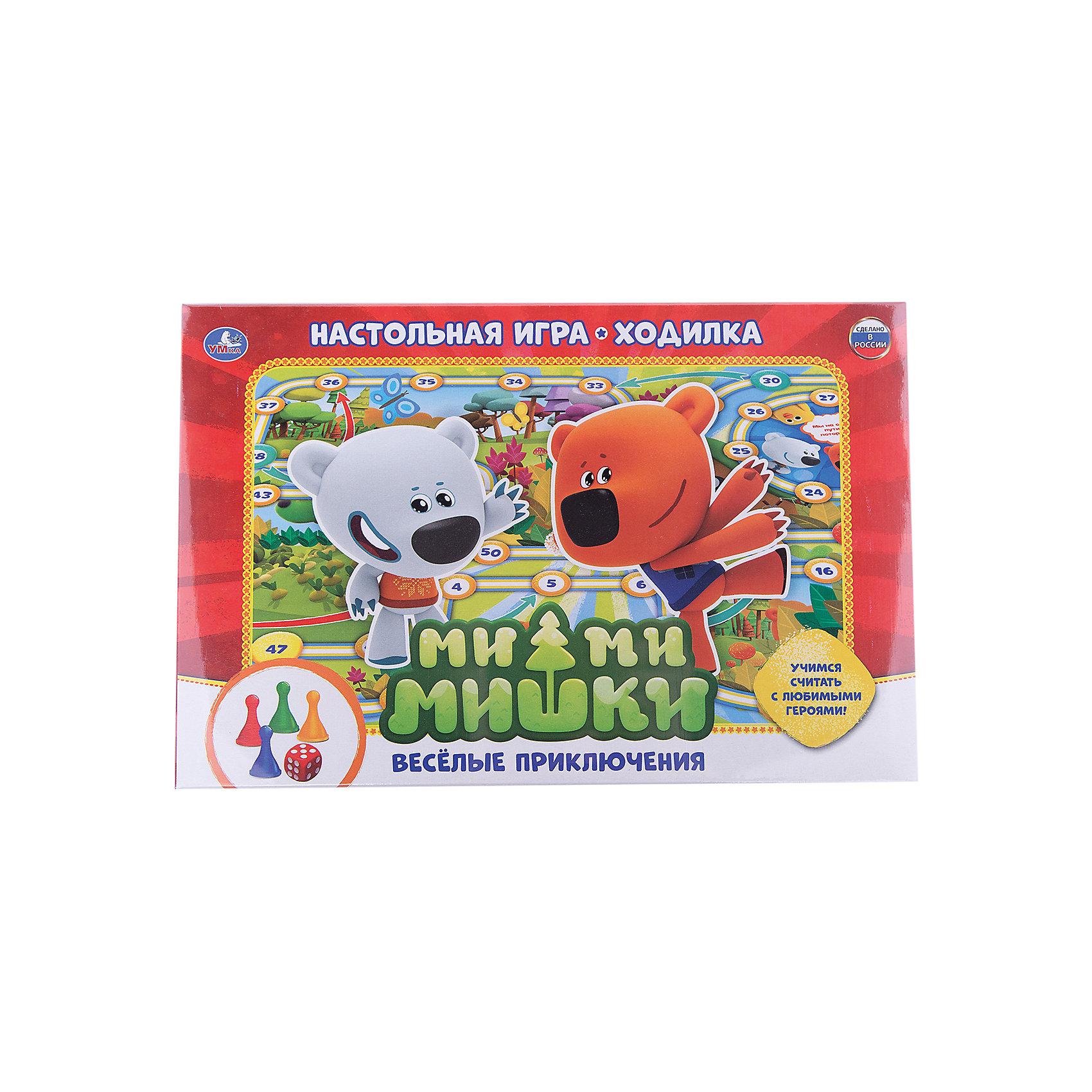 Настольная игра-ходилка Ми-ми-мишки, веселые приключения, УмкаНастольные игры могут не только развлекать малыша, но и помогать его всестороннему развитию. Эта игра-ходилка с любимыми детскими героями Ми-ми-мишками предназначена для формирования у малышей навыков счета, развития памяти и внимательности.<br>Игра представляет поле с кубиком и фишками. Сделан комплект из качественных материалов, безопасных для ребенка.<br><br>Дополнительная информация:<br><br>цвет: разноцветный;<br>материал: картон, пластик;<br>комплектация: игровое поле, кубик, 4 фишки;<br>размер упаковки: 30 x 210 x 330 мм.<br><br>Настольную игру-ходилку Ми-ми-мишки, веселые приключения от бренда Умка можно купить в нашем магазине.<br><br>Ширина мм: 30<br>Глубина мм: 330<br>Высота мм: 210<br>Вес г: 150<br>Возраст от месяцев: 36<br>Возраст до месяцев: 2147483647<br>Пол: Унисекс<br>Возраст: Детский<br>SKU: 5002209