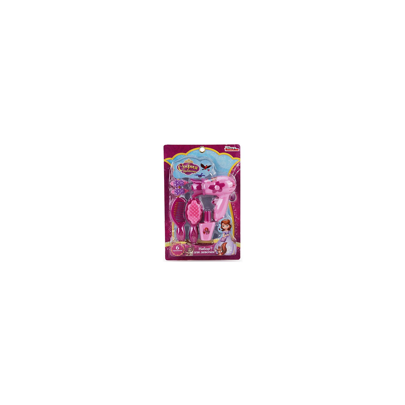 Набор аксессуаров для девочек Принцесса София, 6 предметов, Играем вместеСюжетно-ролевые игры<br>Порадовать девочку просто - подарите ей такой набор. Он состоит из предметов, с помощью которых наводят красоту - это рассчески, фен, лак для ногтей и заколки. Пусть предметы игрушечные, но с их помощью девочка будет осваивать базовые навыки ухода за собой.<br>Изделие представляет собой предметы с хорошей детализацией из прочного пластика. Изделие произведено из качественных материалов, безопасных для ребенка.<br><br>Дополнительная информация:<br><br>цвет: розовый;<br>материал: пластик;<br>комплектация: 6 предметов;<br>размер упаковки: 40 x 260 x 170 мм.<br><br>Набор аксессуаров для девочек Принцесса София, 6 предметов, от бренда Играем вместе можно купить в нашем магазине.<br><br>Ширина мм: 40<br>Глубина мм: 260<br>Высота мм: 170<br>Вес г: 170<br>Возраст от месяцев: 36<br>Возраст до месяцев: 2147483647<br>Пол: Женский<br>Возраст: Детский<br>SKU: 5002231
