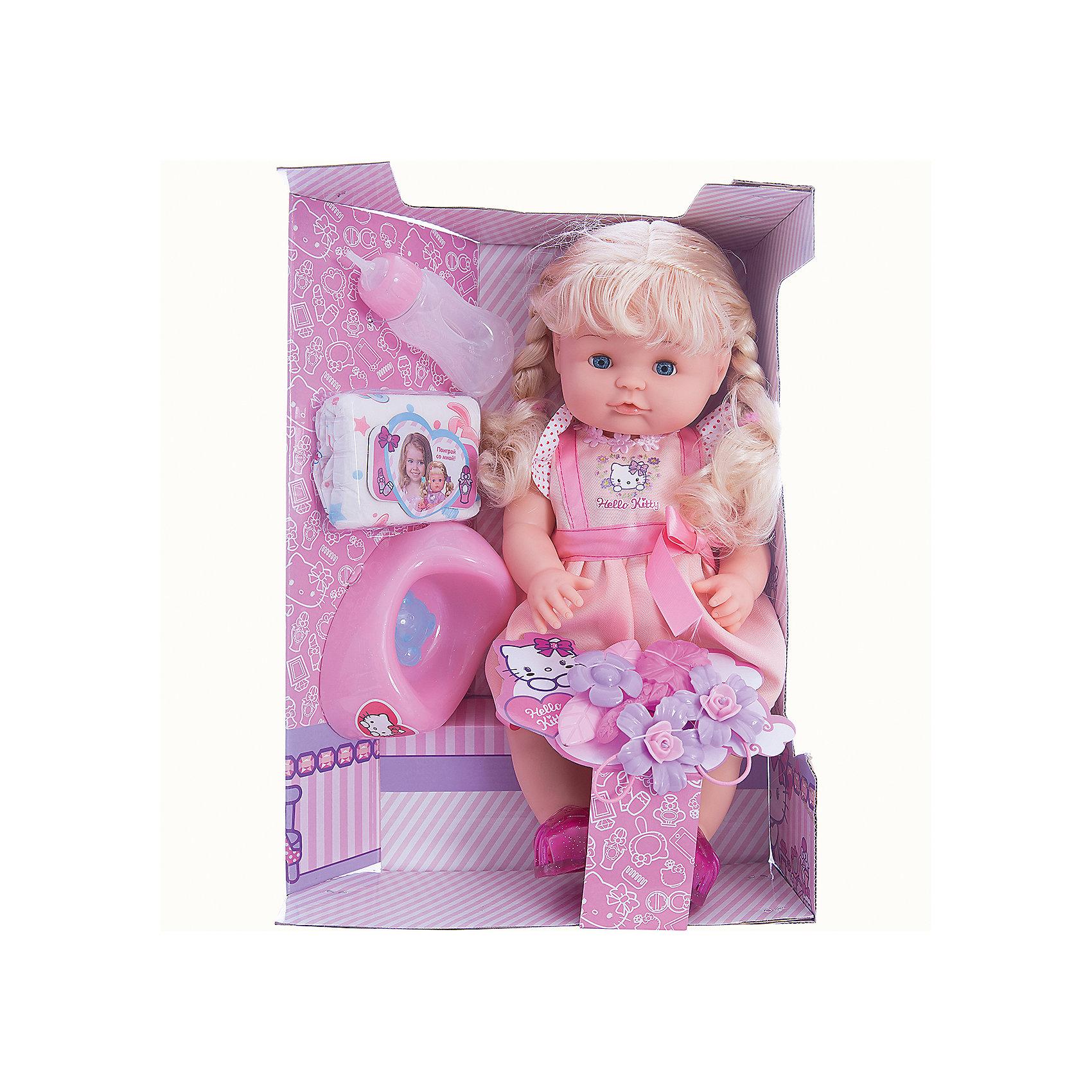Кукла Hello Kitty, 40 см, 3 функции, КарапузПопулярные игрушки<br>Порадовать девочку просто - подарите ей такую куклу. С её помощью девочка будет осваивать базовые навыки общения, ухода за собой и заботы о других.<br>Изделие представляет собой симпатичную куклу с хорошей детализацией из прочного пластика. Она умеет пить и писать, поэтому к ней прилагаются горшок, бутылочка и памперс! Изделие произведено из качественных материалов, безопасных для ребенка.<br><br>Дополнительная информация:<br><br>цвет: разноцветный;<br>материал: пластик, текстиль;<br>комплектация: кукла, одежда, горшок, бутылочка и памперс;<br>размер упаковки: 160 x 390 x 280 мм.<br><br>Куклу Hello Kitty, 40 см, 3 функции, от бренда Карапуз можно купить в нашем магазине.<br><br>Ширина мм: 160<br>Глубина мм: 390<br>Высота мм: 280<br>Вес г: 1230<br>Возраст от месяцев: 36<br>Возраст до месяцев: 2147483647<br>Пол: Женский<br>Возраст: Детский<br>SKU: 5002241