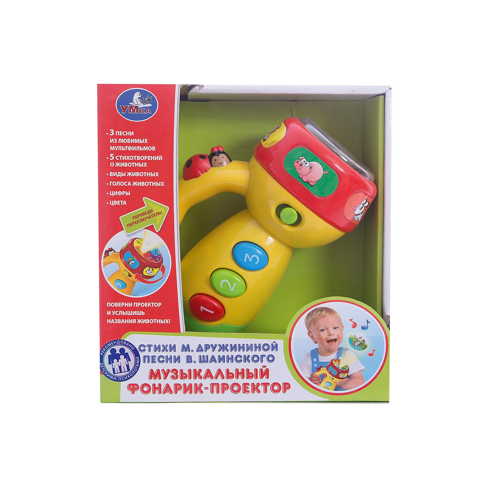 Фонарик-проектор Стихи М. Дружининой и песни В. Шаинского, УмкаЛампы, ночники, фонарики<br>Игрушки могут не только развлекать малыша, но и помогать его всестороннему развитию. Этот фонарик поможет формированию разных навыков, он помогает развить тактильное восприятие, цветовосприятие, воображение и мелкую моторику.<br>Изделие представляет собой игрушку, которая дополнена звуковыми и световыми эффектами. С его помощью ребенок узнает много нового и интересного! Изделие произведено из качественных материалов, безопасных для ребенка.<br><br>Дополнительная информация:<br><br>цвет: разноцветный;<br>материал: пластик;<br>со звуковыми и световыми эффектами;<br>размер упаковки: 90 x 180 x 190 мм.<br><br>Фонарик-проектор Стихи М. Дружининой и песни В. Шаинского от бренда Умка можно купить в нашем магазине.<br><br>Ширина мм: 90<br>Глубина мм: 180<br>Высота мм: 190<br>Вес г: 380<br>Возраст от месяцев: 36<br>Возраст до месяцев: 2147483647<br>Пол: Унисекс<br>Возраст: Детский<br>SKU: 5002245
