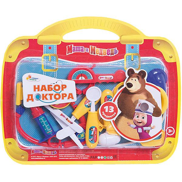 Набор доктора Маша и медведь, 13 предметов, Играем вместеНаборы доктора и ветеринара<br>Любой ребенок старается подражать взрослым, именно поэтому игры с предметами как у взрослых очень популяры у детей. Малыша обязательно порадует такой набор! Играть с ним приятнее еще и потому, что на изделии изображены любимые мультяшные герои!<br>Игрушка представляет собой набор из пластиковых медицинских инструментов в удобной упаковке. Сделаны они из качественных материалов, безопасных для ребенка.<br><br>Дополнительная информация:<br><br>цвет: разноцветный;<br>материал: пластик;<br>комплектация: 13 предметов;<br>размер упаковки: 20 x 310 x 250 мм.<br><br>Набор доктора Маша и медведь, 13 предметов, от бренда Играем вместе можно купить в нашем магазине.<br><br>Ширина мм: 20<br>Глубина мм: 310<br>Высота мм: 250<br>Вес г: 160<br>Возраст от месяцев: 36<br>Возраст до месяцев: 2147483647<br>Пол: Женский<br>Возраст: Детский<br>SKU: 5002270