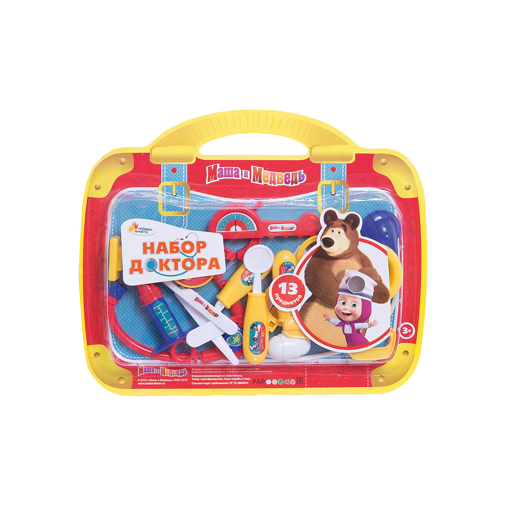 Набор доктора Маша и медведь, 13 предметов, Играем вместеЛюбой ребенок старается подражать взрослым, именно поэтому игры с предметами как у взрослых очень популяры у детей. Малыша обязательно порадует такой набор! Играть с ним приятнее еще и потому, что на изделии изображены любимые мультяшные герои!<br>Игрушка представляет собой набор из пластиковых медицинских инструментов в удобной упаковке. Сделаны они из качественных материалов, безопасных для ребенка.<br><br>Дополнительная информация:<br><br>цвет: разноцветный;<br>материал: пластик;<br>комплектация: 13 предметов;<br>размер упаковки: 20 x 310 x 250 мм.<br><br>Набор доктора Маша и медведь, 13 предметов, от бренда Играем вместе можно купить в нашем магазине.<br><br>Ширина мм: 20<br>Глубина мм: 310<br>Высота мм: 250<br>Вес г: 160<br>Возраст от месяцев: 36<br>Возраст до месяцев: 2147483647<br>Пол: Женский<br>Возраст: Детский<br>SKU: 5002270