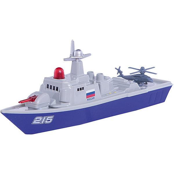 Военный корабль, ТехнопаркВоенный транспорт<br>Характеристики:<br><br>• тип игрушки: корабль;<br>• возраст: от 3 лет;<br>• размер: 15х24х5 см;<br>• цвет: серый;<br>• тип батареек: 3х LR41;<br>• наличие батареек: не входят в комплект; <br>• материал: металл, пластик;<br>• бренд: Технопарк;<br>• страна производителя: Китай.<br><br>Технопарк «Военный корабль»  представляет собой компактную реалистичную модель, достигающую в длину восемнадцати сантиметров. Игрушка сделана из металла и пластика в серо-синих тонах и оснащена инерционным механизмом. На борту имеется красная кнопка, нажатием которой запускаются светозвуковые эффекты. В задней части этого игрушечного морского корабля имеется посадочная площадка для военного вертолета.<br><br>Тематические игры с интересными сюжетами разбудят воображение ребёнка, а манипуляции с игрушкой потренируют мелкую моторику пальцев рук. Масштабные модели от компании «Технопарк» отличаются качественными ударопрочными материалами, продлевающими долговечность изделия тщательным исполнением со вниманием ко всем деталям, и имеют требуемые сертификаты соответствия для детских игрушек.<br><br>Технопарк «Военный корабль»  можно купить в нашем интернет-магазине.<br>Ширина мм: 50; Глубина мм: 150; Высота мм: 250; Вес г: 200; Возраст от месяцев: 36; Возраст до месяцев: 2147483647; Пол: Мужской; Возраст: Детский; SKU: 5002279;