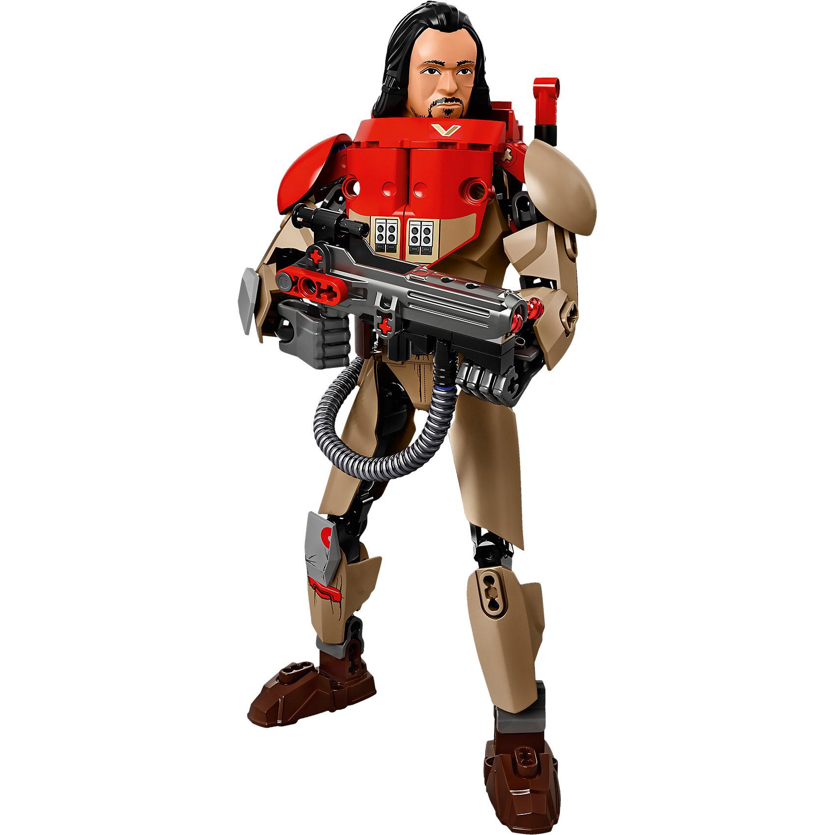 """LEGO Star Wars 75525: Бэйз МальбусПластмассовые конструкторы<br>LEGO Star Wars 75525: Бэйз Мальбус<br><br>Характеристики:<br><br>- в набор входит: детали сборки Бэйза Мальбуса, наклейки, детали оружия,  инструкция<br>- состав: пластик<br>- количество деталей: 148<br>- примерное время сборки: 20 минут<br>- размер упаковки: 14 * 7 * 26 см.<br>- высота фигуры: 24 см.<br>- для детей в возрасте: от 9 до 14 лет<br>- Страна производитель: Дания/Китай/Чехия/<br><br>Легендарный конструктор LEGO (ЛЕГО) представляет серию """"Звездные Войны"""" с героями одноименных фильмов. Этот набор относится к битве на Скарифе и событиям фильма """"Изгой-один. Звёздные войны: Истории"""". Отличный красный с бежевым костюм Бэйза напоминает доспех. Часть костюма выполнена из мягкого пластика, в набор входит 7 наклеек для декорирования. Руки поворачиваются в плечах, локтях и кистях, а ноги в бедрах, коленях и ступнях, фигурку удобно ставить в желаемые позы. Наплечники двигаются и позволяют рукам двигаться свободно. Детали на правой ноге Бэйза напечатаны. Голова и волосы выполнен очень детально и качественно. Множество декоративных элементов делают Бэйза почти настоящим. Ручной пулемет повстанца оснащен снарядами, вылетающими благодаря встроенному механизму. Присоединись к команде повстанцев и совершенствуй свою силу. <br><br>Конструктор LEGO Star Wars 75525: Бэйз Мальбус можно купить в нашем интернет-магазине.<br><br>Ширина мм: 263<br>Глубина мм: 144<br>Высота мм: 76<br>Вес г: 287<br>Возраст от месяцев: 108<br>Возраст до месяцев: 168<br>Пол: Мужской<br>Возраст: Детский<br>SKU: 5002380"""