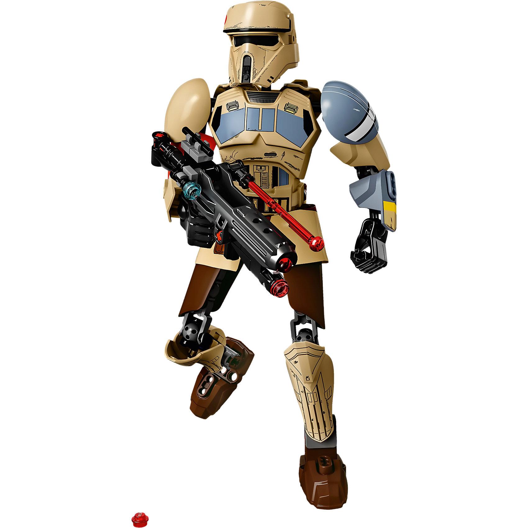 """LEGO Star Wars 75523: Штурмовик со СкарифаПластмассовые конструкторы<br>LEGO Star Wars 75523: Штурмовик со Скарифа<br><br>Характеристики:<br><br>- в набор входит: штурмовик, оружие,  инструкция<br>- состав: пластик<br>- количество деталей: 89<br>- примерное время сборки: 20 минут<br>- размер упаковки: 10 * 3 * 8 см.<br>- высота штурмовика: 24 см.<br>- для детей в возрасте: от 7 до 14 лет<br>- Страна производитель: Дания/Китай/Чехия/<br><br>Легендарный конструктор LEGO (ЛЕГО) представляет серию """"Звездные Войны"""" с героями одноименных фильмов. Этот набор относится к битве на Скарифе и событиям фильма """"Изгой-один. Звёздные войны: Истории"""". Штурмовиков с планеты Скариф отличает их новый блеклый цвет формы и потертости в битвах, что и отражено на фигуре штурмовика из набора. Часть костюма выполнена из мягкого пластика. Руки поворачиваются в плечах, локтях и кистях, а ноги в бедрах, коленях и ступнях, фигурку удобно ставить в желаемые позы. Шлем штурмовика выполнен очень детально и качественно. На деталях отсутствуют наклейки, все рисунки и потертости напечатаны на деталях. Множество декоративных элементов делают штурмовика почти настоящим. Бластерная винтовка с прицелом и съемным прикладом готова защищать интересы Империи. Две пружинные ракеты стреляют из бластера двумя видами выстрела. Красная повязка на правой руке штурмовика показывает, что он не обычный штурмовик, а скорее всего офицер или командующий. Присоединись к команде Галактической Империи и совершенствуй свою силу. <br><br>Конструктор LEGO Star Wars 75523: Штурмовик со Скарифа можно купить в нашем интернет-магазине.<br><br>Ширина мм: 263<br>Глубина мм: 144<br>Высота мм: 66<br>Вес г: 240<br>Возраст от месяцев: 84<br>Возраст до месяцев: 168<br>Пол: Мужской<br>Возраст: Детский<br>SKU: 5002382"""