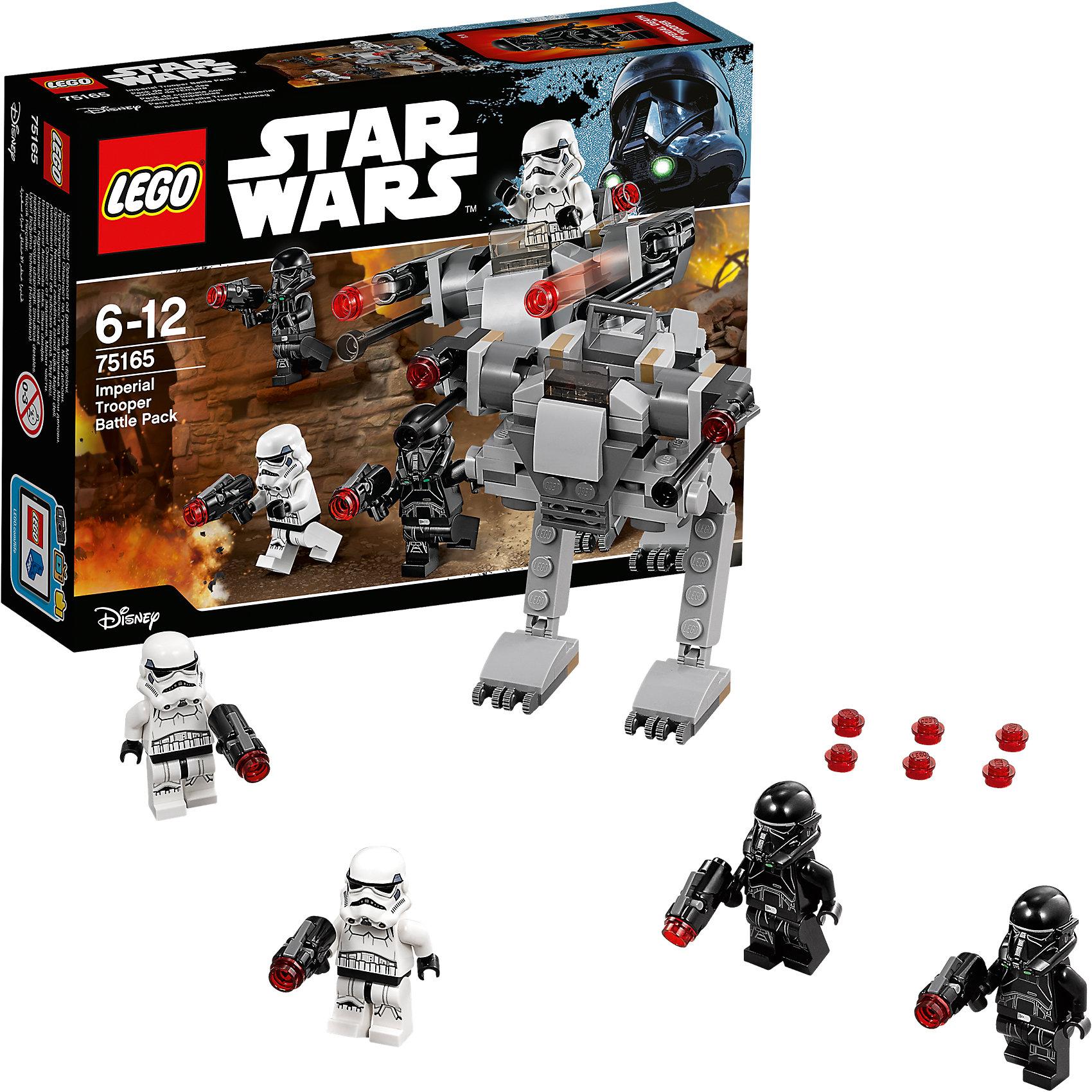 """LEGO Star Wars 75165: Боевой набор ИмперииПластмассовые конструкторы<br>LEGO Star Wars 75165: Боевой набор Империи<br><br>Характеристики:<br><br>- в набор входит: имперский шагоход, 4 фигурки, аксессуары, инструкция<br>- состав: пластик<br>- количество деталей: 112<br>- примерное время сборки: 15 минут<br>- размер шагохода: 8 * 10 * 8 см.<br>- для детей в возрасте: от 6 до 12 лет<br>- Страна производитель: Дания/Китай/Чехия/<br><br>Легендарный конструктор LEGO (ЛЕГО) представляет серию «Звездные Войны» с героями одноименных фильмов. В этом наборе штурмовики заняты обороной военной базы по мотивам фильма """"Изгой-один. Звёздные войны: Истории"""". Четыре фигурки штурмовиков из набора облачены в черную и белую униформу. Отлично проработанные детали фигурок и шлемов добавляют реалистичности, сами шлемы снимаются и можно увидеть лица клонов. У каждого имперского штурмовика есть свой бластер с усиленной огневой мощью, бластеры оснащены небольшим механизмом и стреляют деталями, в набор входят запасные детали. Шагоход изготовлен из уникальных деталей и имеет место только для одного штурмовика. Небольшая деталь-стекло защищает управляющего шагоходом, а бластеры установленные на нем также могут стрелять. Защищай секреты Галактической Империи, и не дай повстанцам захватить чертежи!<br><br>Конструктор LEGO Star Wars 75165: Боевой набор Империи можно купить в нашем интернет-магазине.<br><br>Ширина мм: 193<br>Глубина мм: 142<br>Высота мм: 48<br>Вес г: 114<br>Возраст от месяцев: 72<br>Возраст до месяцев: 144<br>Пол: Мужской<br>Возраст: Детский<br>SKU: 5002383"""