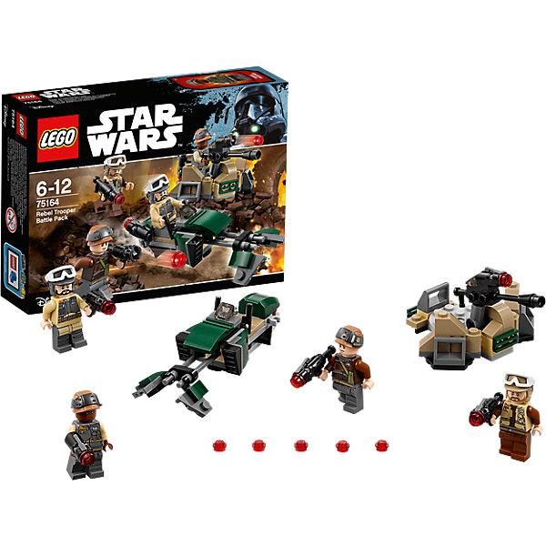 """LEGO Star Wars 75164: Боевой набор ПовстанцевКонструкторы Лего<br>LEGO Star Wars 75164: Боевой набор Повстанцев<br><br>Характеристики:<br><br>- в набор входит: детали линии обороны, спидер, 4 фигурки, аксессуары, инструкция<br>- состав: пластик<br>- количество деталей: 120<br>- примерное время сборки: 15 минут<br>- размер линии обороны: 9 * 5 * 7 см.<br>- размер спидера: 11 * 3 * 4 см.<br>- для детей в возрасте: от 6 до 12 лет<br>- Страна производитель: Дания/Китай/Чехия/<br><br>Легендарный конструктор LEGO (ЛЕГО) представляет серию «Звездные Войны» с героями одноименных фильмов. В этом наборе повстанцы заняты обороной города по мотивам фильма """"Изгой-один. Звёздные войны: Истории"""". Четыре фигурки повстанцев из набора облачены в униформу, но у каждого свой уникальный рисунок. У двоих повстанцев очки могут сниматься со шлема и надвигаться на глаза. К каждой фигурке прилагаются мощные бластеры, из которых можно стрелять красными детальками. Линия обороны состоит из множества маленьких деталек и выглядит вполне реалистично. Лазерная пушка может двигаться вверх-вниз и влево-вправо, специальный механизм позволяет стрелять детальками из этой пушки, в наборе есть запасные детали. Также в набор входит небольшой спидер повстанцев, который имеет специальные отделения для двух бластеров в кабине. Присоединись к команде повстанцев и совершенствуй свою силу. <br><br>Конструктор LEGO Star Wars 75164: Боевой набор Повстанцев можно купить в нашем интернет-магазине.<br><br>Ширина мм: 193<br>Глубина мм: 142<br>Высота мм: 50<br>Вес г: 120<br>Возраст от месяцев: 72<br>Возраст до месяцев: 144<br>Пол: Мужской<br>Возраст: Детский<br>SKU: 5002384"""
