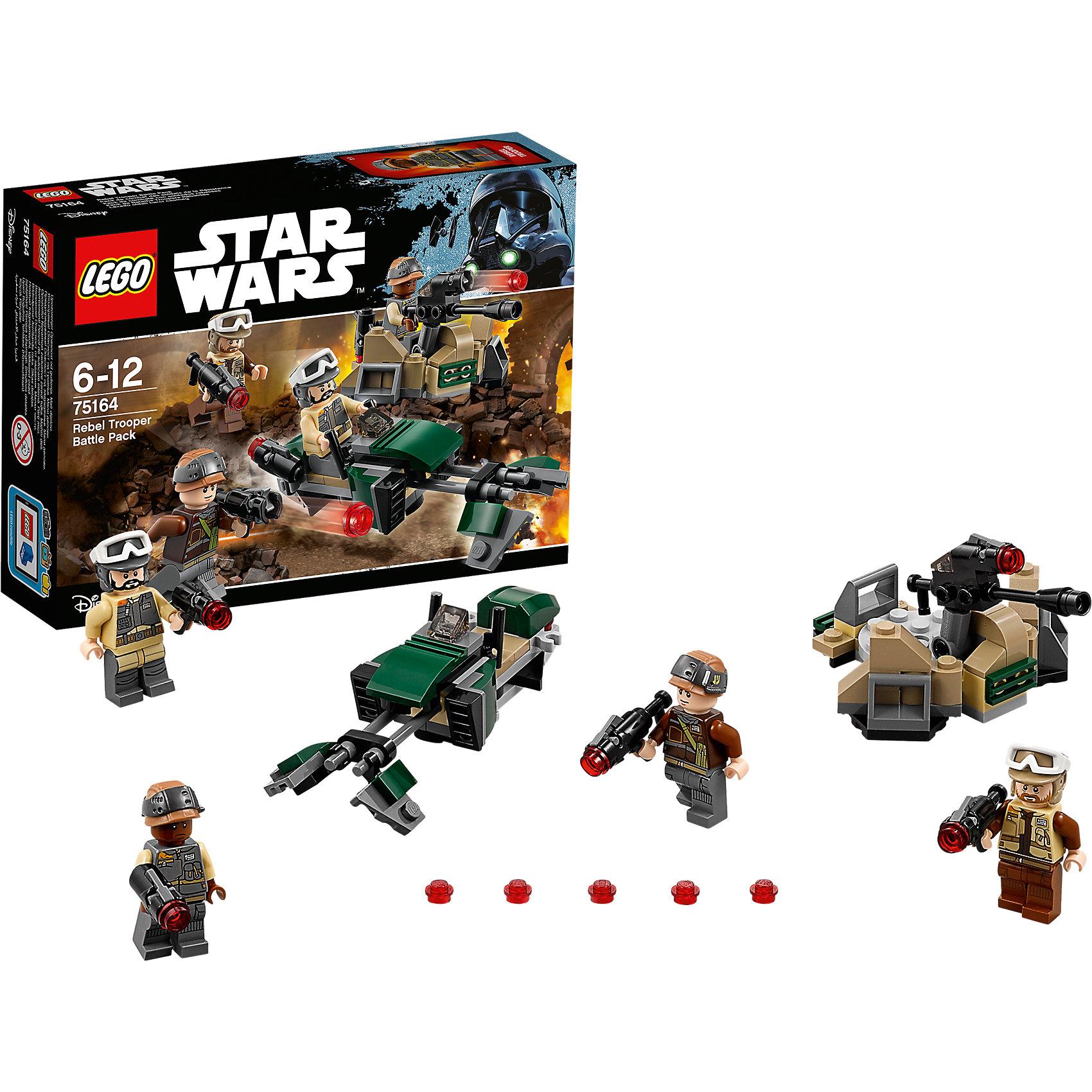 """LEGO Star Wars 75164: Боевой набор ПовстанцевПластмассовые конструкторы<br>LEGO Star Wars 75164: Боевой набор Повстанцев<br><br>Характеристики:<br><br>- в набор входит: детали линии обороны, спидер, 4 фигурки, аксессуары, инструкция<br>- состав: пластик<br>- количество деталей: 120<br>- примерное время сборки: 15 минут<br>- размер линии обороны: 9 * 5 * 7 см.<br>- размер спидера: 11 * 3 * 4 см.<br>- для детей в возрасте: от 6 до 12 лет<br>- Страна производитель: Дания/Китай/Чехия/<br><br>Легендарный конструктор LEGO (ЛЕГО) представляет серию «Звездные Войны» с героями одноименных фильмов. В этом наборе повстанцы заняты обороной города по мотивам фильма """"Изгой-один. Звёздные войны: Истории"""". Четыре фигурки повстанцев из набора облачены в униформу, но у каждого свой уникальный рисунок. У двоих повстанцев очки могут сниматься со шлема и надвигаться на глаза. К каждой фигурке прилагаются мощные бластеры, из которых можно стрелять красными детальками. Линия обороны состоит из множества маленьких деталек и выглядит вполне реалистично. Лазерная пушка может двигаться вверх-вниз и влево-вправо, специальный механизм позволяет стрелять детальками из этой пушки, в наборе есть запасные детали. Также в набор входит небольшой спидер повстанцев, который имеет специальные отделения для двух бластеров в кабине. Присоединись к команде повстанцев и совершенствуй свою силу. <br><br>Конструктор LEGO Star Wars 75164: Боевой набор Повстанцев можно купить в нашем интернет-магазине.<br><br>Ширина мм: 193<br>Глубина мм: 142<br>Высота мм: 50<br>Вес г: 120<br>Возраст от месяцев: 72<br>Возраст до месяцев: 144<br>Пол: Мужской<br>Возраст: Детский<br>SKU: 5002384"""