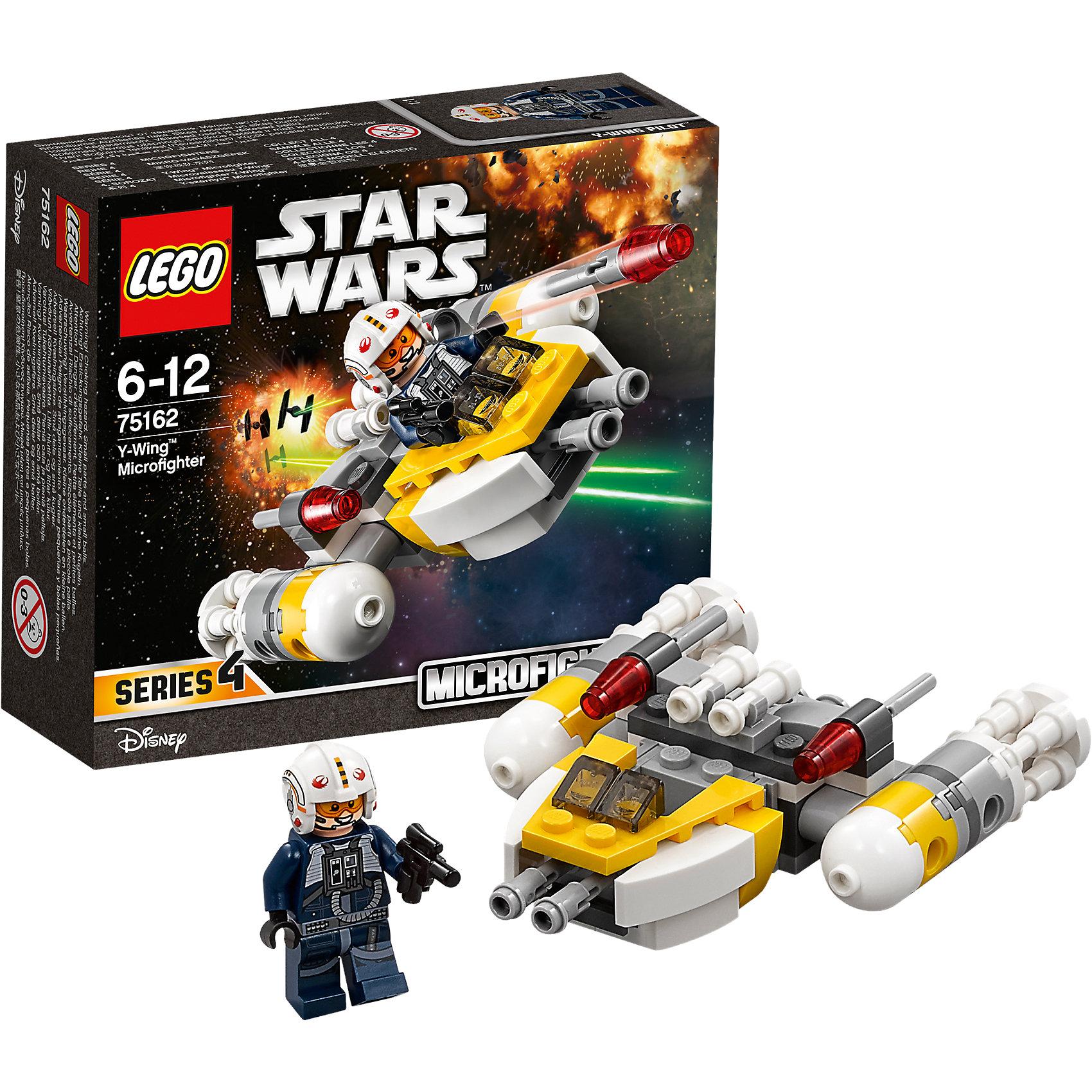 """LEGO Star Wars 75162: Микроистребитель типа YПластмассовые конструкторы<br>LEGO Star Wars 75162: Микроистребитель типа Y<br><br>Характеристики:<br><br>- в набор входит: детали истребителя, 1 фигурка, аксессуары, инструкция<br>- состав: пластик<br>- количество деталей: 90<br>- примерное время сборки: 25 минут<br>- размер истребителя: 10 * 3 * 8 см.<br>- для детей в возрасте: от 6 до 12 лет<br>- Страна производитель: Дания/Китай/Чехия/<br><br>Легендарный конструктор LEGO (ЛЕГО) представляет серию """"Звездные Войны"""" с героями одноименных фильмов. В набор входит Микроистребитель и фигурка пилота-повстанца. Отличная детализация комбинезона пилота добавляет фигурке реалистичности, а аксессуары в виде шлема с встроенными наушниками и бластера помогут выполнить даже самую сложную миссию. Пилот имеет два выражения лица и нарисованные средства связи и очки пилота. Судьба микроистребителя связана с событиями фильма """"Изгой-один. Звёздные войны: Истории"""". Истребитель-бомбирдировщик оснащен фронтальными пушками и двумя системами запуска ракет в средней части корпуса. Ракеты с пружинным механизмом позволяют запускать их в процессе игры. Пилот отлично вмещается в свою кабину, оснащенную двумя прозрачными  деталями изображающими небольшое стекло. Два больших двигателя выглядят очень реалистично и состоят из нестандартных круглых лего-деталей, прозрачные красные части имитируют работу двигателя. Присоединись к команде повстанцев и совершенствуй свою силу. <br><br>Конструктор LEGO Star Wars 75162: Микроистребитель типа Y можно купить в нашем интернет-магазине<br><br>Ширина мм: 144<br>Глубина мм: 124<br>Высота мм: 50<br>Вес г: 88<br>Возраст от месяцев: 72<br>Возраст до месяцев: 144<br>Пол: Мужской<br>Возраст: Детский<br>SKU: 5002386"""