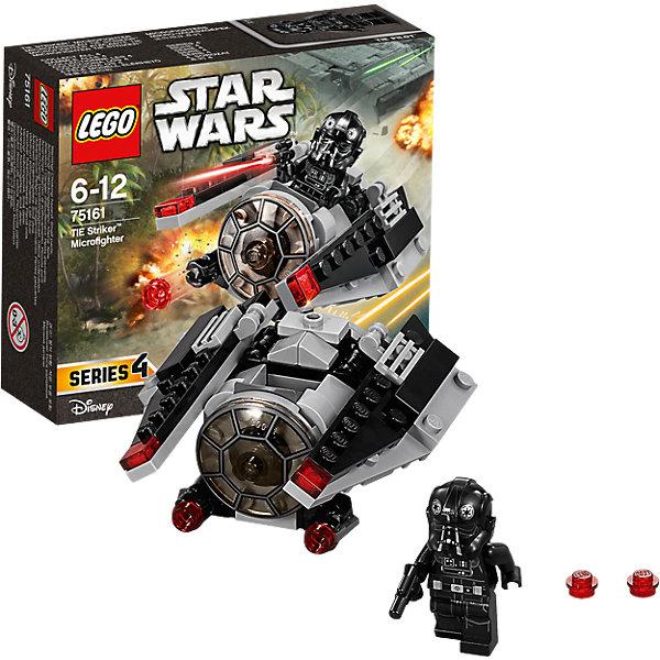 """LEGO Star Wars 75161: Микроистребитель-штурмовик TIEКонструкторы Лего<br>LEGO Star Wars 75161: Микроистребитель-штурмовик TIE<br><br>Характеристики:<br><br>- в набор входит: детали истребителя, 1 фигурка, аксессуары, инструкция<br>- состав: пластик<br>- количество деталей: 88<br>- примерное время сборки: 25 минут<br>- размер истребителя: 8 * 4 * 9 см.<br>- для детей в возрасте: от 6 до 12 лет<br>- Страна производитель: Дания/Китай/Чехия<br><br>Легендарный конструктор LEGO (ЛЕГО) представляет серию """"Звездные Войны"""" с героями одноименных фильмов. В набор входит Микроистребитель, фигурка имперского пилота, бластер. Отличная детализация костюма пилота добавляет фигурке реалистичности, а шикарный шлем выглядит точь-в-точь как в фильмах. Микроистребитель-штурмовик создан по мотивам фильма """"Изгой-один. Звёздные войны: Истории"""". Корабль выполнен в черном цвете и по форме и детализации очень схож с моделью фильма. Передние бластеры оснащены механизмом и стреляют снарядами, в наборе имеются запасные, также на крыльях красными прозрачными деталями  отмечены дополнительное оружие. Крылья поворачиваются для маневренности истербителя. Небольшие красные детали на крыльях симулируют работу двигателя и выглядят очень гармонично. Опасный микроистребитель-штурмовик Темной Стороны силы противостоит повстанцам и не позволит им добраться до чертежей Звезды Смерти.<br><br>Конструктор LEGO Star Wars 75161: Микроистребитель-штурмовик TIE можно купить в нашем интернет-магазине.<br><br>Ширина мм: 144<br>Глубина мм: 121<br>Высота мм: 48<br>Вес г: 99<br>Возраст от месяцев: 72<br>Возраст до месяцев: 144<br>Пол: Мужской<br>Возраст: Детский<br>SKU: 5002387"""