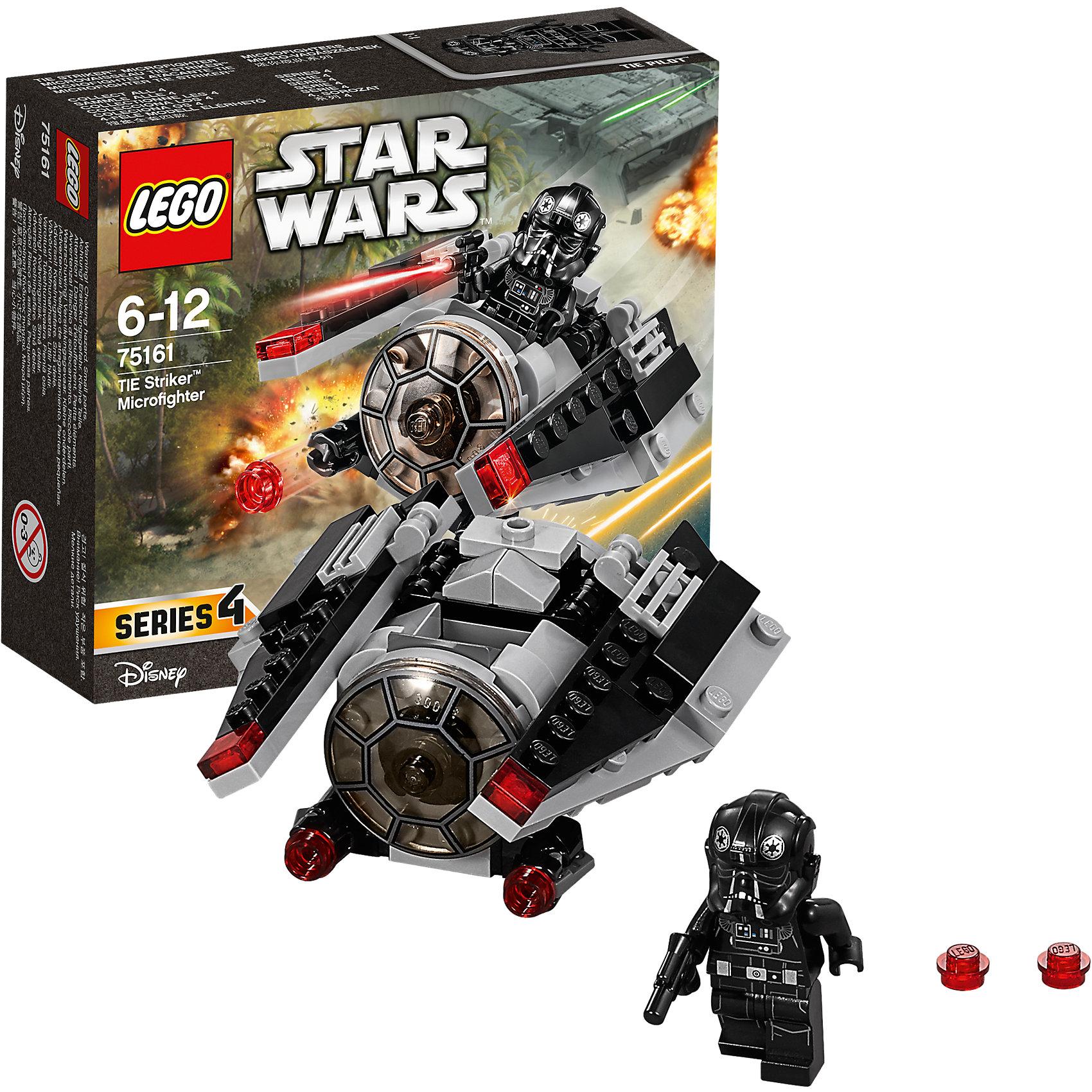 """LEGO Star Wars 75161: Микроистребитель-штурмовик TIEПластмассовые конструкторы<br>LEGO Star Wars 75161: Микроистребитель-штурмовик TIE<br><br>Характеристики:<br><br>- в набор входит: детали истребителя, 1 фигурка, аксессуары, инструкция<br>- состав: пластик<br>- количество деталей: 88<br>- примерное время сборки: 25 минут<br>- размер истребителя: 8 * 4 * 9 см.<br>- для детей в возрасте: от 6 до 12 лет<br>- Страна производитель: Дания/Китай/Чехия<br><br>Легендарный конструктор LEGO (ЛЕГО) представляет серию """"Звездные Войны"""" с героями одноименных фильмов. В набор входит Микроистребитель, фигурка имперского пилота, бластер. Отличная детализация костюма пилота добавляет фигурке реалистичности, а шикарный шлем выглядит точь-в-точь как в фильмах. Микроистребитель-штурмовик создан по мотивам фильма """"Изгой-один. Звёздные войны: Истории"""". Корабль выполнен в черном цвете и по форме и детализации очень схож с моделью фильма. Передние бластеры оснащены механизмом и стреляют снарядами, в наборе имеются запасные, также на крыльях красными прозрачными деталями  отмечены дополнительное оружие. Крылья поворачиваются для маневренности истербителя. Небольшие красные детали на крыльях симулируют работу двигателя и выглядят очень гармонично. Опасный микроистребитель-штурмовик Темной Стороны силы противостоит повстанцам и не позволит им добраться до чертежей Звезды Смерти.<br><br>Конструктор LEGO Star Wars 75161: Микроистребитель-штурмовик TIE можно купить в нашем интернет-магазине.<br><br>Ширина мм: 144<br>Глубина мм: 121<br>Высота мм: 48<br>Вес г: 99<br>Возраст от месяцев: 72<br>Возраст до месяцев: 144<br>Пол: Мужской<br>Возраст: Детский<br>SKU: 5002387"""