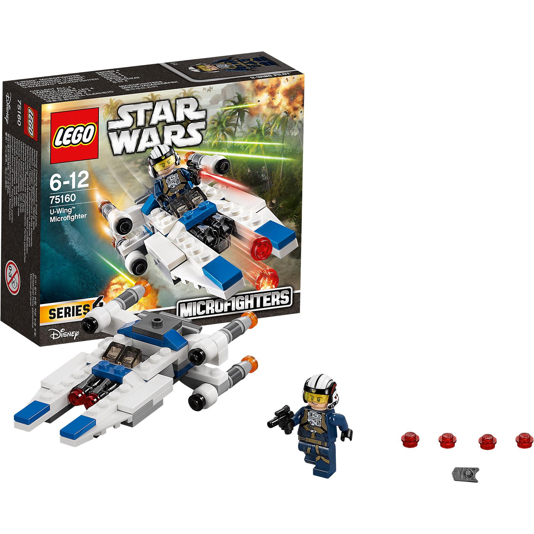 """LEGO Star Wars 75160: Микроистребитель типа UПластмассовые конструкторы<br>LEGO Star Wars 75160: Микроистребитель типа U<br><br>Характеристики:<br><br>- в набор входит: детали истребителя, 1 фигурка, аксессуары, инструкция<br>- состав: пластик<br>- количество деталей: 109<br>- примерное время сборки: 25 минут<br>- размер истребителя: 12 * 3 * 6 см.<br>- для детей в возрасте: от 6 до 12 лет<br>- Страна производитель: Дания/Китай/Чехия/<br><br>Легендарный конструктор LEGO (ЛЕГО) представляет серию """"Звездные Войны"""" с героями одноименных фильмов. В набор входит Микроистребитель и фигурка пилота-повстанца. Отличная детализация комбинезона пилота добавляет фигурке реалистичности, а аксессуары в виде шлема с защитным стеклом и встроенными наушниками, а также бластера помогут выполнить даже самую сложную миссию. Пилот имеет два выражения лица. Судьба микроистребителя связана с событиями фильма """"Изгой-один. Звёздные войны: Истории"""". Дальнобойный истребитель с четырьмя мощными двигателями оснащен двумя передними пушками, сбивающих врагов. Пружинный механизм стреляет красными снарядами, в комплект входят дополнительные снаряды. Крылья истребителя двигаются для увеличения маневренности. Присоединись к команде повстанцев и совершенствуй свою силу. <br><br>Конструктор LEGO Star Wars 75160: Микроистребитель типа U можно купить в нашем интернет-магазине.<br><br>Ширина мм: 144<br>Глубина мм: 121<br>Высота мм: 48<br>Вес г: 99<br>Возраст от месяцев: 72<br>Возраст до месяцев: 144<br>Пол: Мужской<br>Возраст: Детский<br>SKU: 5002388"""