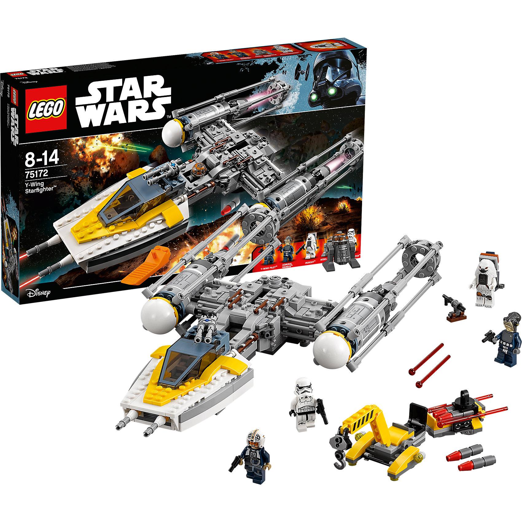 LEGO Star Wars 75172: Звёздный истребитель типа YПластмассовые конструкторы<br>LEGO Star Wars 75172: Звёздный истребитель типа Y<br><br>Характеристики:<br><br>- в набор входит: детали истребителя, детали погрузчика оружия, 5 фигурок, аксессуары, инструкция<br>- состав: пластик<br>- количество деталей: 691<br>- примерное время сборки: 3 часа<br>- размер истребителя: 41 * 20 * 7 см.<br>- размер погрузчика: 6 * 20 * 8 см.<br>- для детей в возрасте: от 8 до 14 лет<br>- Страна производитель: Дания/Китай/Чехия/<br><br>Легендарный конструктор LEGO (ЛЕГО) представляет серию «Звездные Войны» с героями одноименных фильмов. В набор входит сам истребитель и погрузчик боеприпасов на колесиках. Погрузчик с прицепом вмещает в себя боеприпасы и с помощью двигающегося манипулятора загрузит оружие и подготовит легендарный корабль повстанцев к битве. Звёздный истребитель   типа Y это многофункциональное судно с функциями легкого бомбардировщика, обладает сокрушительной огневой мощью в ближнем бою. Прекрасно детализированная кабина пилота с приборной панелью-наклейкой оснащена оружием спереди и сверху. Две верхние пушки крутятся, а открывающаяся деталь кабины не требует наклеек, так как уже раскрашена на заводе. Прямо под корпусом кабины расположены две пружинные ракеты, которыми можно стрелять (дополнительные ракеты входят в набор) За кабиной пилота расположено место для дроида астромеханика. Очень детализированные корпус корабля содержит множество меленьких деталей. Отсек с бомбами содержит крутящийся механизм, позволяющий осуществлять бомбардировку и загружать новые бомбы. Два больших и реалистичных двигателя дополняются четырьмя наклейками. Прозрачная фиолетовая деталь показывает, что двигатель работает. Фигурки в наборе включают пилота корабля, Адмирала Раддуса, Мороффа, штурмовика и сборного робота астромеханика. Присоединись к команде повстанцев и совершенствуй свою силу. <br><br>Конструктор LEGO Star Wars 75172: Звёздный истребитель типа Y можно купить в нашем интернет-магазине