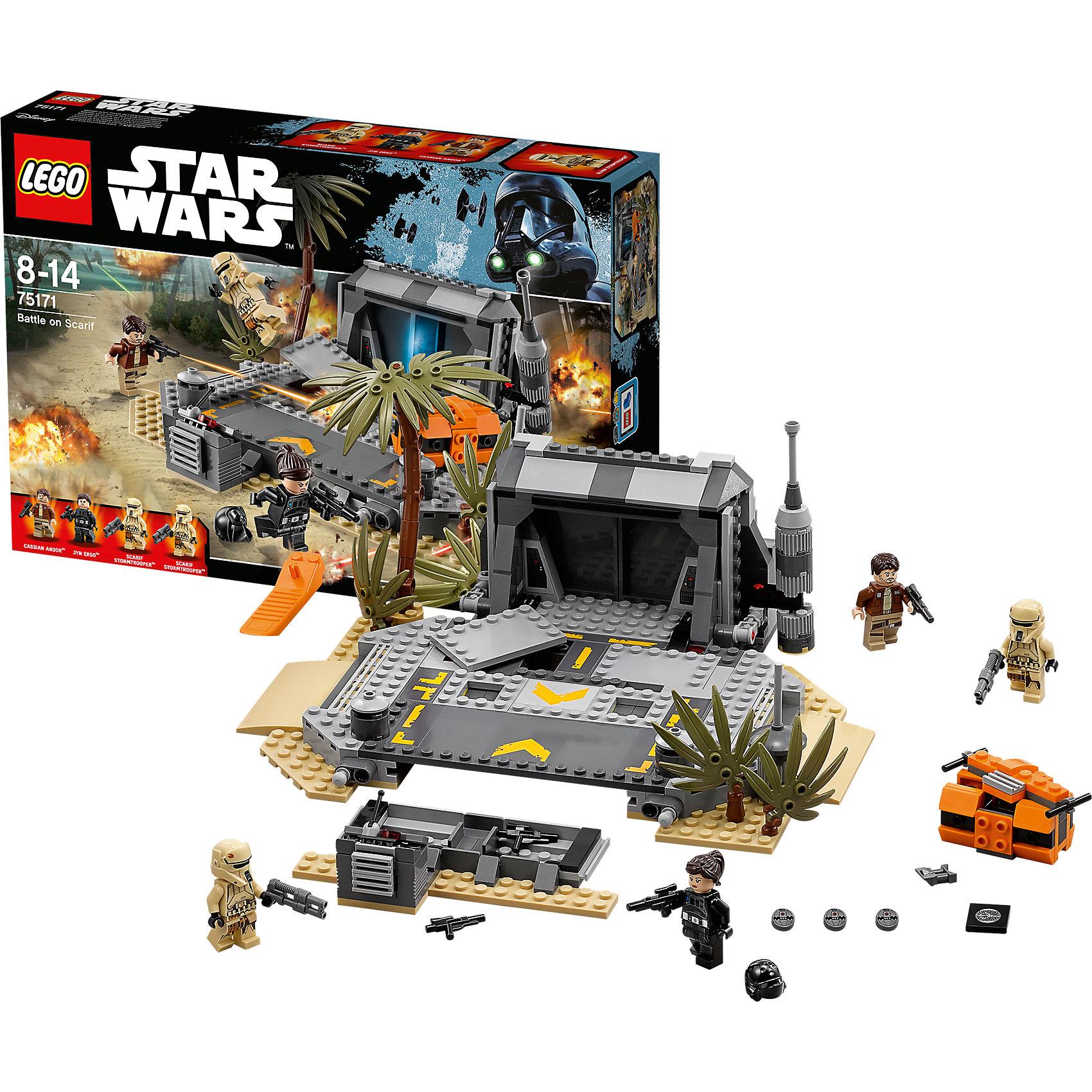 LEGO Star Wars 75171: Битва на СкарифеПластмассовые конструкторы<br>LEGO Star Wars 75171: Битва на Скарифе<br><br>Характеристики:<br><br>- в набор входит: детали военной базы, 4 фигурки, аксессуары, инструкция<br>- состав: пластик<br>- количество деталей: 419<br>- размер военной базы: 25 * 10 * 22 см.<br>- для детей в возрасте: от 8 до 14 лет<br>- Страна производитель: Дания/Китай/Чехия/<br><br>Легендарный конструктор LEGO (ЛЕГО) представляет серию «Звездные Войны» с героями одноименных фильмов. На отдаленной планете внешнего кольца под названием Скариф находится архив, где хранятся чертежи Звезды Смерти. Планета тропического типа имеет хорошо защищенную базу, охраняемую Галактической Империей. Отважные повстанцы Джин Эрсо и Кассиан Андо направились прямо в сердце врага чтобы получить чертежи и возможность разрушить губительное оружие. Противостоят героям имперские штурмовики (две фигурки в комплекте). Минифигурки выполнены с отличной проработкой деталей и имеют по два выражения лица. Два специальных бластера для героев уже в комплекте, а также 4 обыкновенных, в дополнение входит три детонатора и оптический бинокль, операция просто обречена на успех! Захвати чертежи и уходи через открывающиеся двери бункера, опасайтесь взрывающихся панелей пола базы. Дополнительное оружие ты сможешь найти спрятанным в специальном отсеке. Присоединись к команде повстанцев и совершенствуй свою силу.<br><br>Конструктор LEGO Star Wars 75171: Битва на Скарифе можно купить в нашем интернет-магазине.<br><br>Ширина мм: 382<br>Глубина мм: 266<br>Высота мм: 76<br>Вес г: 756<br>Возраст от месяцев: 96<br>Возраст до месяцев: 168<br>Пол: Мужской<br>Возраст: Детский<br>SKU: 5002392