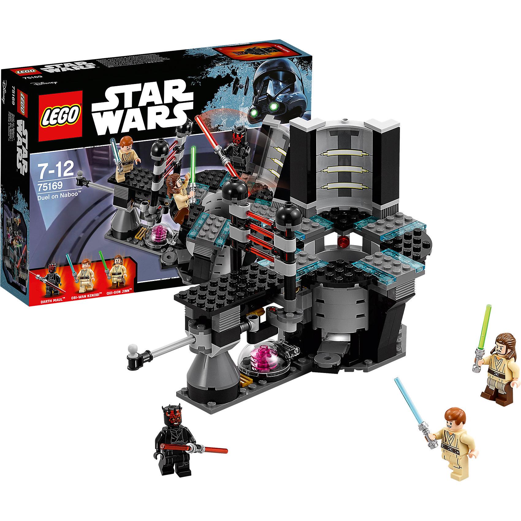 LEGO Star Wars 75169: Дуэль на НабуПластмассовые конструкторы<br>LEGO Star Wars 75169: Дуэль на Набу<br><br>Характеристики:<br><br>- в набор входит: конструктор, 3 фигурки, инструкция<br>- состав: пластик<br>- количество деталей: 208<br>- формат: 9 * 7,5 * 7 см.<br>- вес: 150 гр.<br>- для детей в возрасте: от 7 до 12 лет<br>- Страна производитель: Китай<br><br>Легендарный конструктор LEGO (ЛЕГО) представляет серию «Звездные Войны» с героями одноименных фильмов. Этот набор позволит моделировать финальную битву рыцарей-джедаев Квай-Гон Джинна и Оби-Ван Кеноби против темного владыки ситхов Дарта Мола из Эпизода I: Скрытая угроза. Учитель и ученик вступили в схватку с темной стороной силы во дворце королевы Амидалы на планете Набу. Дарт Мол силен, как никогда, ведь его оружие это двухстронний световой меч и подготовка высокого уровня. Световые детали мечей съемные и можно сделать меч односторонним, как в битве между Оби Ваном и Молом, или убирать лезвие вне битв. Сама комната с реактором совсем как в фильме, а голубые неоновые прозрачные детали ЛЕГО добавляют реалистичности. Красный световой барьер, отделяет Оби-Ван Кеноби, пока его учитель вступает в схватку, но специальный рычаг снимет барьер, выпустив падавана. Герои могут прыгать используя катапульту, а с помощью светлой силы ты можешь помочь рыцарям-джедая выполнять сальто и уворачиваться от ударов. Фигурки рыцарей имеют два вида выражения лица. Совершенствуй в себе силу с набором Дуэль на Набу и помоги любимым героям победить.<br><br>Конструктор LEGO Star Wars 75169: Дуэль на Набу можно купить в нашем интернет-магазине.<br><br>Ширина мм: 263<br>Глубина мм: 190<br>Высота мм: 66<br>Вес г: 353<br>Возраст от месяцев: 84<br>Возраст до месяцев: 144<br>Пол: Мужской<br>Возраст: Детский<br>SKU: 5002394