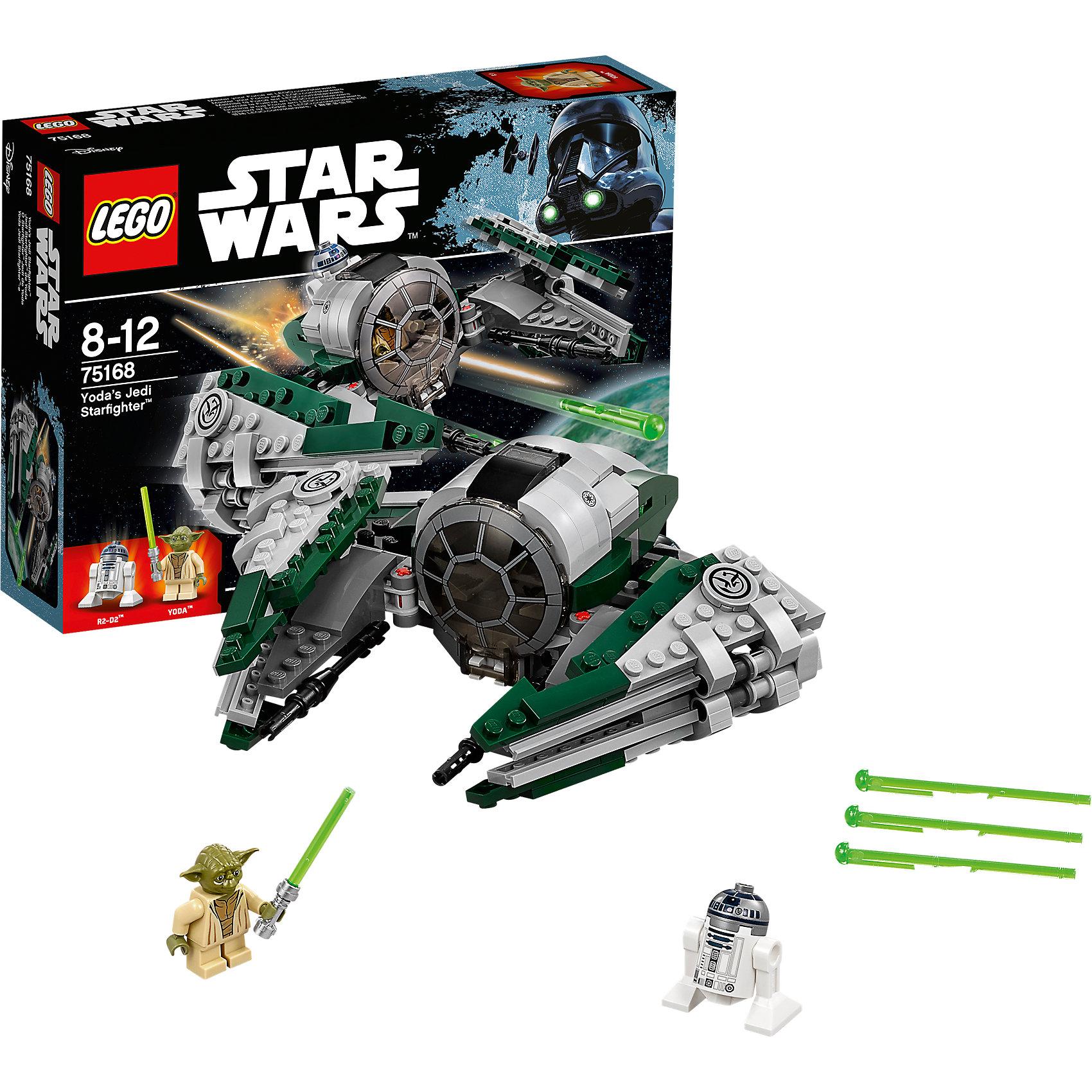 LEGO Star Wars 75168: Звёздный истребитель ЙодыПластмассовые конструкторы<br>LEGO Star Wars 75168: Звёздный истребитель Йоды<br><br>Характеристики:<br><br>- в набор входит: детали истребителя, 2 фигурки, аксессуары, инструкция<br>- состав: пластик<br>- количество деталей: 262<br>- примерное время сборки: 30 минут<br>- размер истребителя: 15 * 7 * 18 см.<br>- для детей в возрасте: от 8 до 12 лет<br>- Страна производитель: Дания/Китай/Чехия/<br><br>Легендарный конструктор LEGO (ЛЕГО) представляет серию «Звездные Войны» с героями одноименных фильмов. Гранд Мастер-Джедай Йода, небольшой по росту, но мудрый и сильный, тренировал джедаев более чем 800 лет. Его отлично проработанная фигурка приведет в восторг фанатов, рельефная голова с детализированными морщинами и знаменитыми ушами магистра добавляют максимальной реалистичности этой фигурке. В набор входит световой меч Йоды. На фигурку знаменитого астромеханического дроида Р2-Д2 (R2-D2) качественно нанесены рисунки приборной панели, а его бочкообразная форма и вращающийся купол выглядят совсем как в фильмах! Дроид способен чинить неполадки во время полетов. Известный истребитель Йоды – это модифицированный истребитель джедая, специально уменьшенный в размере для магистра. Кабина пилота открывается, а особенная прозрачная круговая деталь с уже нанесенным рисунком выглядит очень реалистично. Мощные крылья истребителя двигаются и раскладываются позволяя осуществлять выстрелы по противникам. Пружинный механизм выпускает зеленые бластерные лучи. Присоединись к команде повстанцев и совершенствуй свою силу. <br><br>Конструктор LEGO Star Wars 75168: Звёздный истребитель Йоды можно купить в нашем интернет-магазине.<br><br>Ширина мм: 261<br>Глубина мм: 192<br>Высота мм: 66<br>Вес г: 344<br>Возраст от месяцев: 96<br>Возраст до месяцев: 144<br>Пол: Мужской<br>Возраст: Детский<br>SKU: 5002395