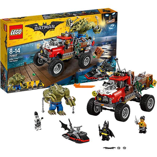 LEGO Batman Movie 70907: Хвостовоз Убийцы КрокаПластмассовые конструкторы<br>LEGO Batman Movie 70907: Хвостовоз Убийцы Крока<br><br>Характеристики:<br><br>- в набор входит: детали хвостовоза, фигура Крока, 3 минифигурки, аксессуары, красочная инструкция<br>- минифигурки набора: Бэтмен, Человек-Зебра, Тарантула<br>- состав: пластик<br>- количество деталей: 460 <br>- размер упаковки: 28 * 7,5 * 48 см.<br>- размер хвостовоза: 20 * 11 * 15 см.<br>- размер катера: 9 * 6 * 4 см.<br>- высота Убийцы Крока: 9 см.<br>- примерное время сборки: 40 мин.<br>- для детей в возрасте: от 8 до 14 лет<br>- Страна производитель: Дания/Китай/Чехия<br><br>Легендарный конструктор LEGO (ЛЕГО) представляет серию «Batman Movie» (Бэтмен Муви) по сюжету одноименного лего мультфильма. Серия понравится любителям комиксов DC и историй о Бэтмене. <br><br>Большой внедорожник с обширным кузовом для Крока содержит множество необычных деталей - доски, водоросли, ящики, лягушки. Подвеску задних колес можно регулировать, кабина одноместная, а руль и трансмиссия выходят из кабины в кузов, позволяя Кроку управлять ею. Специальный крутящийся механизм позволяет сбрасывать ящики на преследователей. На капоте размещен череп рогатого животного, добавляя опасности в образ Хвостовоза. Части мощного мотора выступают наружу, капот оснащен полупрозрачными деталями, имитируя освещение. Массивные боковые зеркала делают внедорожник еще реалистичнее. В набор входит и небольшой катер Бэтмена. Катер оснащен панелью управления, есть специальное место для бэтаранга, штурвал и две пружинные ракеты.<br><br>Сам Бэтмен представлен в своем классическом черном костюме с черной маской, черным плащом и отдельным желтым поясом, у фигурки два выражения лица. У Тарантулы необычная прическа с рельефными и детализированными волосами, два выражения лица, в набор вошло и ее оружие – два сая серебряного цвета. <br><br>Второй злодей в наборе - это Человек-Зебра с интересным ирокезом. Убийца Крок выполнен в нескольких цветах пластика, его ки