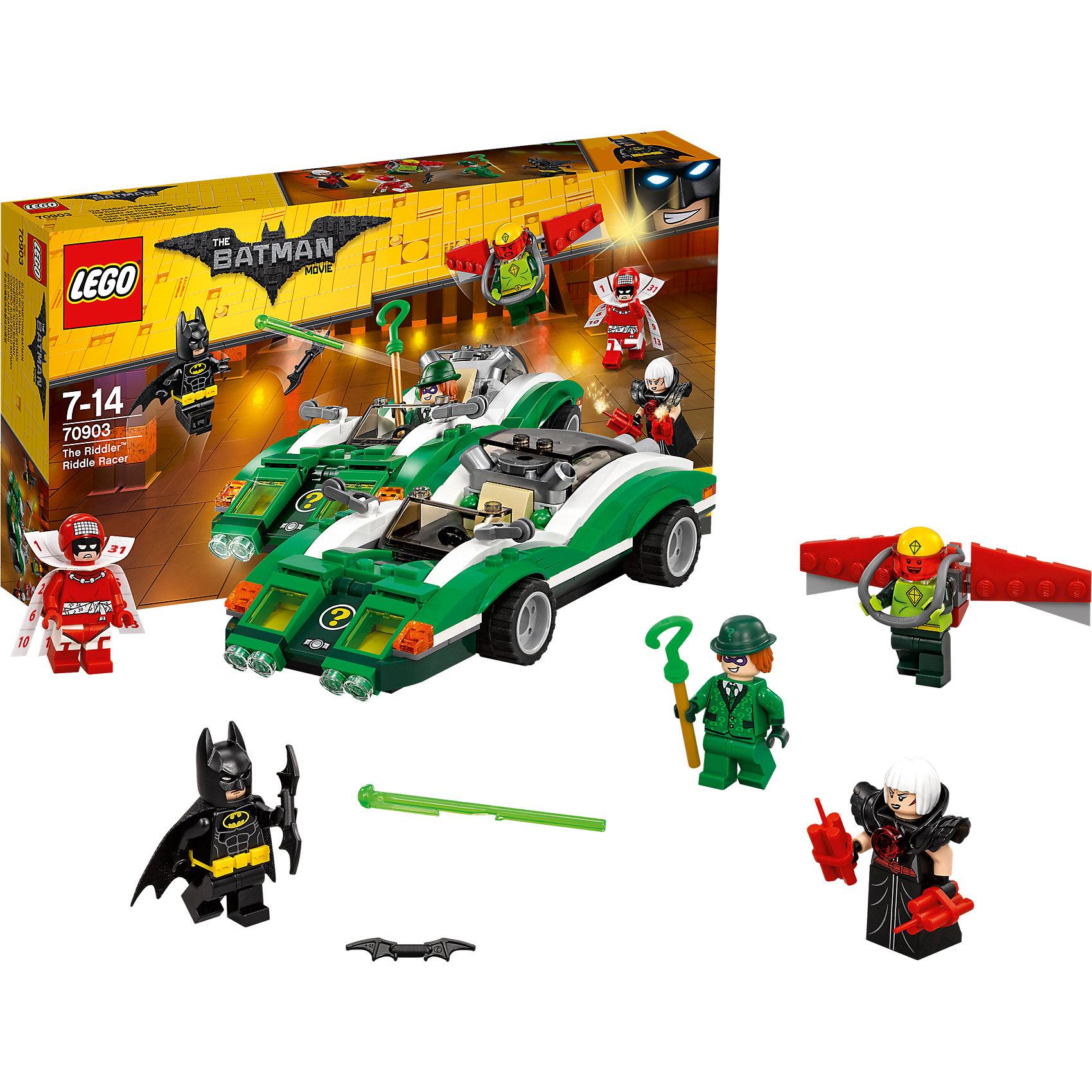 LEGO Batman Movie 70903: Гоночный автомобиль ЗагадочникаПластмассовые конструкторы<br>LEGO Batman Movie 70903: Гоночный автомобиль Загадочника<br><br>Характеристики:<br><br>- в набор входит: детали автомобиля, 5 минифигурок, аксессуары, красочная инструкция<br>- минифигурки набора: Бэтмен, Загадочник, Человек-календарь, Кайтмен, Сорока<br>- состав: пластик<br>- количество деталей: 254 <br>- размер упаковки: 35 * 5 * 19 см. <br>- размер автомобиля: 18 * 3 * 7 см.<br>- примерное время сборки: 30 мин.<br>- для детей в возрасте: от 7 до 14 лет<br>- Страна производитель: Дания/Китай/Чехия<br><br>Легендарный конструктор LEGO (ЛЕГО) представляет серию «Batman Movie» (Бэтмен Муви) по сюжету одноименного лего мультфильма. Серия понравится любителям комиксов DC и историй о Бэтмене. <br><br>Сразу четыре злодея выступают против Бэтмена в этом наборе. Загадочник в своем зеленом костюме и шляпе скрывает свое лицо под маской, он совершает свои преступления в автомобиле. Кайтмен, или человек-летучий змей уже парит в воздухе. Сорока надела свой самый устрашающий костюм с высоким воротником и наплечниками и начала поджигать запалы динамитов, и даже Человек-календарь не выглядит дружелюбно. <br><br>Все фигурки отлично проработаны и у них есть два выражения лица. Бэтмен представлен в своем классическом черном костюме с черной маской, плащом из ткани и съемным желтым поясом, вооружен бэтарангом. <br><br>Автомобиль Загадочника оснащен пружинной ракетой, которая вылетает с помощью механизма. Под капотом спрятаны еще две пушки. Сможет ли Бэтмен остановить сразу всех преступников? Помоги Бэтмену восстановить порядок в Готем-сити вместе с набором серии «Batman Movie»<br><br>Конструктор LEGO Batman Movie 70903: Гоночный автомобиль Загадочника можно купить в нашем интернет-магазине.<br><br>Ширина мм: 353<br>Глубина мм: 192<br>Высота мм: 66<br>Вес г: 384<br>Возраст от месяцев: 84<br>Возраст до месяцев: 168<br>Пол: Мужской<br>Возраст: Детский<br>SKU: 5002400