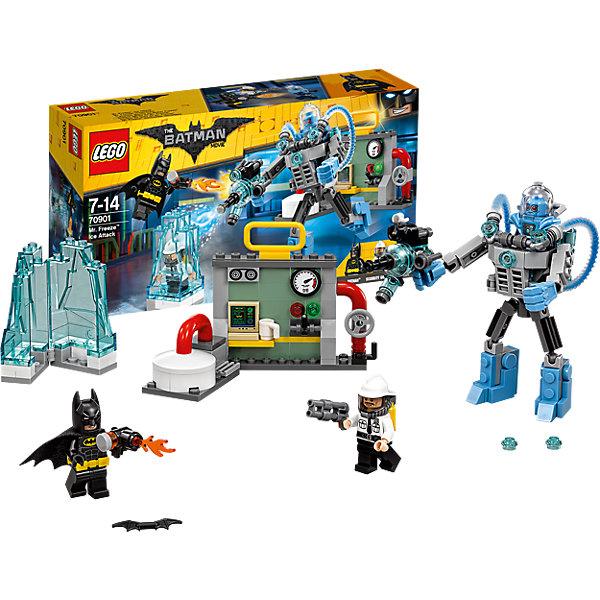 LEGO Batman Movie 70901: Ледяная aтака Мистера ФризаПластмассовые конструкторы<br>LEGO Batman Movie 70901: Ледяная aтака Мистера Фриза<br><br>Характеристики:<br><br>- в набор входит: детали электростанции, экзокостюма и ледяной тюрьмы, 2 минифигурки, аксессуары, красочная инструкция<br>- минифигурки набора: Бэтмен, мистер Фриз, охранник<br>- состав: пластик<br>- количество деталей: 201 <br>- размер ледяной тюрьмы: 6 * 3 * 3 см.<br>- размер электростанции: 13 * 3 * 7 см.<br>- высота экзокостюма: 11 см.<br>- примерное время сборки: 30 мин.<br>- для детей в возрасте: от 7 до 14 лет<br>- Страна производитель: Дания/Китай/Чехия<br><br>Легендарный конструктор LEGO (ЛЕГО) представляет серию «Batman Movie» (Бэтмен Муви) по сюжету одноименного лего мультфильма. Серия понравится любителям комиксов DC и историй о Бэтмене. <br><br>Мистер фриз опять взялся за свое, соорудив новый экзокостюм он захватил электростанцию и заточил охранника в ледяную тюрьму. Экзокостюм выполнен на шарнирных деталях и может двигать руками и ногами во все стороны. Специальная ледяная пушка не только превращает всех в лед, но и стреляет ледяными снарядами. Электростанция оснащена разнообразными панелями, кнопками и рычагами. <br><br>Бэтмен уже спешит на помощь в своем классическом черной костюме с черной маской, черным тканевым плащом и желтым съемным ремнем. Он вооружился бэтарангом и огнеметом для большей эффективности против Фриза. Помоги Бэтмену восстановить порядок в Готем-сити вместе с набором серии «Batman Movie»<br><br>Конструктор LEGO Batman Movie 70901: Ледяная aтака Мистера Фриза можно купить в нашем интернет-магазине.<br><br>Ширина мм: 265<br>Глубина мм: 144<br>Высота мм: 63<br>Вес г: 242<br>Возраст от месяцев: 84<br>Возраст до месяцев: 168<br>Пол: Мужской<br>Возраст: Детский<br>SKU: 5002402