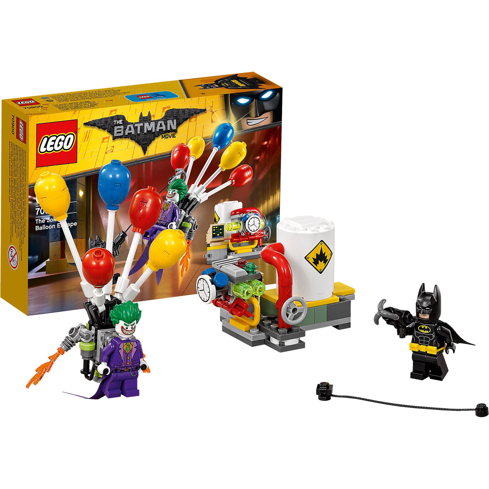 LEGO Batman Movie 70900: Побег Джокера на воздушном шареПластмассовые конструкторы<br>LEGO Batman Movie 70900: Побег Джокера на воздушном шаре<br><br>Характеристики:<br><br>- в набор входит: детали топливной станции, 2 минифигурки, аксессуары, красочная инструкция<br>- минифигурки набора: Джокер, Бэтмен<br>- состав: пластик<br>- количество деталей: 124 <br>- размер рюкзака с шариками: 11 * 4 * 9 см.<br>- размер топливной станции: 6 * 7 * 6 см.<br>- примерное время сборки: 20 мин.<br>- для детей в возрасте: от 8 до 14 лет<br>- Страна производитель: Дания/Китай/Чехия<br><br>Легендарный конструктор LEGO (ЛЕГО) представляет серию «Batman Movie» (Бэтмен Муви) по сюжету одноименного лего мультфильма. Серия понравится любителям комиксов DC и историй о Бэтмене. <br><br>Фигурка Джокера выполнена очень качественно с интересными прорисовками его костюма и тканевым продолжением его фиолетового фрака. Два новых выражения лица позволят придумать множество сценариев игры. Фигурка Бэтмена также выполнена прекрасно, классический черный костюм Бэтмена с плащом, желтым ремнем и черной маской. Сам герой оснащен устройством с крюком для быстрого перемещения. Реактивный ранец Джокера поднимает его ввысь чтобы осуществить свой план побега. Ранец крепится на отдельную прозрачную деталь, шарики ранца можно фиксировать в любой позиции. Топливная станция оснащена всеми необходимыми знаками о взрывоопасности, кнопками, компьютером управления, деталей-вентелем для труб. Специальная функция отделяет цистерну имитируя взрыв. Джокера можно ставить на вершину цистерны. <br><br>Прекрасный набор радует поклонников новыми деталями, а также содержит двух самых главных героев мультфильма. Набор объединяется с двумя другими наборами серии - 70910:Пугало, специальная доставка и 76081: Ледяная aтака Мистера Фриза позволя сделать уникальные сценки.<br><br>Конструктор LEGO Batman Movie 70900: Побег Джокера на воздушном шаре можно купить в нашем интернет-магазине.<br><br>Ширина мм: 195<br>Глубина мм: 139<br>В