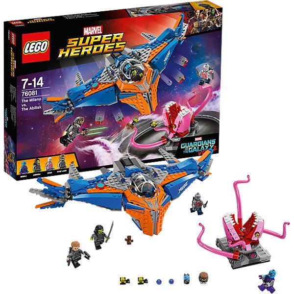 LEGO Super Heroes 76081: Милано против АбелискаКонструкторы Лего<br>LEGO Super Heroes 76081: Милано против Абелиска<br><br>Характеристики:<br><br>- в набор входит: детали 2 кораблей и декораций, 4 минифигурки, аксессуары, книга комиксов, красочная инструкция по сборке<br>- минифигурки набора: Звёздный Лорд, малыш Грут, Гамора, Дракс,Небула<br>- состав: пластик<br>- количество деталей: 460<br>- размер упаковки: 38 * 6 * 26 см.<br>- для детей в возрасте: от 7 до 14 лет<br>- Страна производитель: Дания/Китай/Чехия<br><br>Легендарный конструктор LEGO (ЛЕГО) представляет серию «Marvel Super Heroes» (Супер герои Марвел) по сюжетам фильмов, мультфильмов и комиксов о супергероях. <br><br>Этот набор понравится любителям фильмов Marvel Стражи галактики. Минифигурки набора выглядят ярко, очень качественно проработаны, в их разработке были использованы уникальные детали не встречающиеся в других наборах. Звёздный Лорд представлен в новом более детализированном дизайне костюма со шлемом, который снимается, а также новым оружием и рюкзаком для полетов. Гамора с рельефной двухцветной прической выглядит очень реалистично, в руках она держит меч. Минифигурка Дракса выглядит впечатляюще с новым дизайном лица, его тело разрисовано как на руках, так и на ногах, за плечами съемный рюкзак для полетов. Малыш Грут отлично выполнен, несмотря на свой маленький размер, его лицо и элементы одежды четко прорисованы. Небула получила новый дизайн головы. <br><br>Милано - космический корабль отважной команды выглядит внушительно и оснащен множеством функций в виде двигающихся деталей крыльев, четырех нижних пушек, выстреливающих дисками и двух верхних пушек с механизмом стрельбы и небольшими снарядами. Двухместная кабина пилота открывается, на ней изображен стильный рисунок. Абелиск отлично выполнен, его челюсти двигаются, а щупальца могут захватывать героев в ходе битвы. Помоги героям выиграть эту битву со злом! <br><br>Играя с конструктором ребенок развивает моторику рук, воображение и логическо