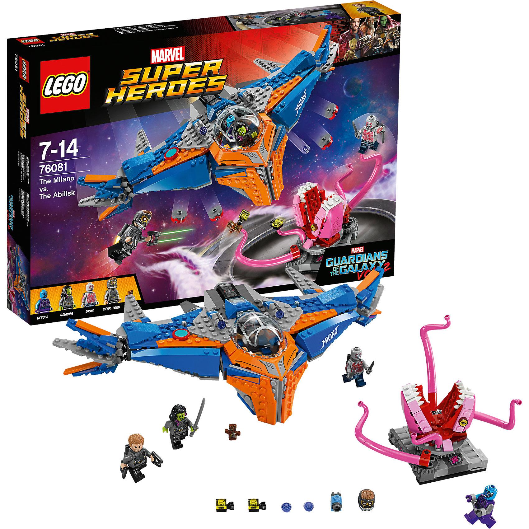 LEGO Super Heroes 76081: Милано против АбелискаПластмассовые конструкторы<br>LEGO Super Heroes 76081: Милано против Абелиска<br><br>Характеристики:<br><br>- в набор входит: детали 2 кораблей и декораций, 4 минифигурки, аксессуары, книга комиксов, красочная инструкция по сборке<br>- минифигурки набора: Звёздный Лорд, малыш Грут, Гамора, Дракс,Небула<br>- состав: пластик<br>- количество деталей: 460<br>- размер упаковки: 38 * 6 * 26 см.<br>- для детей в возрасте: от 7 до 14 лет<br>- Страна производитель: Дания/Китай/Чехия<br><br>Легендарный конструктор LEGO (ЛЕГО) представляет серию «Marvel Super Heroes» (Супер герои Марвел) по сюжетам фильмов, мультфильмов и комиксов о супергероях. <br><br>Этот набор понравится любителям фильмов Marvel Стражи галактики. Минифигурки набора выглядят ярко, очень качественно проработаны, в их разработке были использованы уникальные детали не встречающиеся в других наборах. Звёздный Лорд представлен в новом более детализированном дизайне костюма со шлемом, который снимается, а также новым оружием и рюкзаком для полетов. Гамора с рельефной двухцветной прической выглядит очень реалистично, в руках она держит меч. Минифигурка Дракса выглядит впечатляюще с новым дизайном лица, его тело разрисовано как на руках, так и на ногах, за плечами съемный рюкзак для полетов. Малыш Грут отлично выполнен, несмотря на свой маленький размер, его лицо и элементы одежды четко прорисованы. Небула получила новый дизайн головы. <br><br>Милано - космический корабль отважной команды выглядит внушительно и оснащен множеством функций в виде двигающихся деталей крыльев, четырех нижних пушек, выстреливающих дисками и двух верхних пушек с механизмом стрельбы и небольшими снарядами. Двухместная кабина пилота открывается, на ней изображен стильный рисунок. Абелиск отлично выполнен, его челюсти двигаются, а щупальца могут захватывать героев в ходе битвы. Помоги героям выиграть эту битву со злом! <br><br>Играя с конструктором ребенок развивает моторику рук, воображение и 