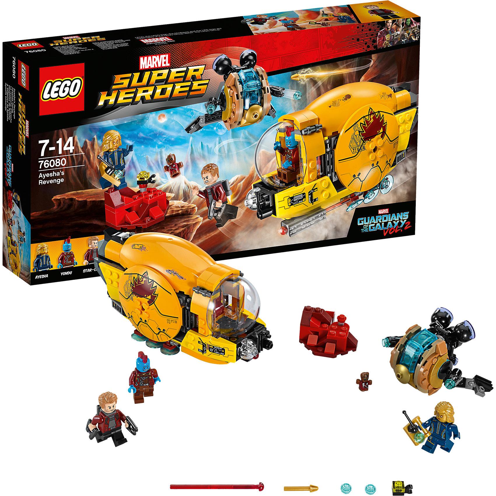 LEGO Super Heroes 76080: Месть АишиПластмассовые конструкторы<br>LEGO Super Heroes 76080: Месть Аиши<br><br>Характеристики:<br><br>- в набор входит: детали 2 кораблей и декораций, 4 минифигурки, аксессуары, книга комиксов, красочная инструкция по сборке<br>- минифигурки набора: Звёздный Лорд, малыш Грут, Йонду, Аиша<br>- состав: пластик<br>- количество деталей: 323<br>- размер упаковки: 35,5 * 6 * 19 см.<br>- для детей в возрасте: от 7 до 14 лет<br>- Страна производитель: Дания/Китай/Чехия<br><br>Легендарный конструктор LEGO (ЛЕГО) представляет серию «Marvel Super Heroes» (Супер герои Марвел) по сюжетам фильмов, мультфильмов и комиксов о супергероях. <br><br>Этот набор понравится любителям фильмов Marvel Стражи галактики. Минифигурки набора выглядят ярко, очень качественно проработаны, в их разработке были использованы уникальные детали не встречающиеся в других наборах. Звёздный Лорд представлен в новом более детализированном дизайне с новой прической, курткой, а также новым оружием и рюкзаком для полетов. Костюм Йонду нарисован как на его теле, так и на ногах, в набор входит его стрела. Малыш Грут представлен в маленьком размере и с его униформой. <br><br>Аиша представлена в золотом цвете, как и в комиксах, с пультом управления, рисунки костюма нанесены на тело и ноги минифигурки. Ее космический корабль выполнен в соответствии с фильмом Стражи галактики 2 и оснащен двумя мощными двигателями-турбинами, фронтальными пушками, стреляющими с помощью механизма. Большой корабль Йонду выглядит внушительно, кабина корабля открывается, внизу расположена пружинная ракета, боковые панели разворачиваются. Помоги героям выиграть эту битву со злом на необычной планете! <br><br>Играя с конструктором ребенок развивает моторику рук, воображение и логическое мышление, научится собирать по инструкции и создавать свои модели. Придумывайте новые истории любимых героев с набором LEGO «Marvel Super Heroes»!<br><br>Конструктор LEGO Super Heroes 76080: Месть Аиши можно купить в нашем интер