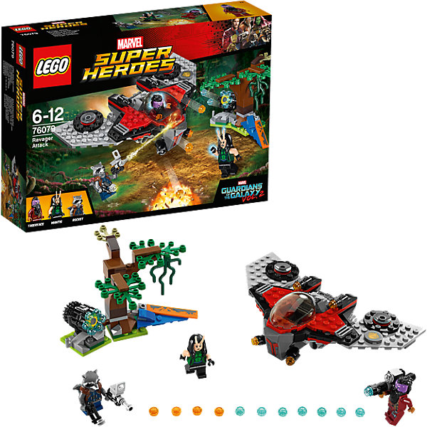 LEGO Super Heroes 76079: Нападение ТазерфейсаПластмассовые конструкторы<br>LEGO Super Heroes 76079: Нападение Тазерфейса<br><br>Характеристики:<br><br>- в набор входит: детали корабля и дерева, 3 минифигурки, аксессуары, книга комиксов, красочная инструкция по сборке<br>- минифигурки набора: Ракета, Мантис, Тазерфейс<br>- состав: пластик<br>- количество деталей: 197<br>- размер упаковки: 26 * 6 * 19 см.<br>- для детей в возрасте: от 6 до 12 лет<br>- Страна производитель: Дания/Китай/Чехия<br><br>Легендарный конструктор LEGO (ЛЕГО) представляет серию «Marvel Super Heroes» (Супер герои Марвел) по сюжетам фильмов, мультфильмов и комиксов о супергероях. <br><br>Этот набор понравится любителям фильмов Marvel Стражи галактики. Минифигурки набора выглядят ярко, очень качественно проработаны, в их разработке были использованы уникальные детали не встречающиеся в других наборах. Енот Ракета представлен в более детализированном костюме и новым оружием, теперь он улыбается. Прическа Мантис уникальна из-за добавленных двух антенн и длинных густых черных волос. Прическа Тазерфейса соединена с его густой бородой, его фиолетовый цвет лица ярко выделяется, у него так же появилось новое оружие стреляющее ракетами с помощью механизма. <br><br>Битва героев происходит на зелёной планете в болотистой местности, поэтому в набор включено дерево с характерными деталями. Космический корабль набора выглядит очень реалистично, оснащен двумя турбинами, кабина пилота открывается, фронтальные пушки стреляют снарядами с помощью механизма. Помоги героям выиграть эту битву со злом на необычной планете с помощью ультраэффективной многоствольной пушки из обломков Милано. <br><br>Играя с конструктором ребенок развивает моторику рук, воображение и логическое мышление, научится собирать по инструкции и создавать свои модели. Придумывайте новые истории любимых героев с набором LEGO «Marvel Super Heroes»!<br><br>Конструктор LEGO Super Heroes 76079: Нападение Тазерфейса можно купить в нашем интернет-магази