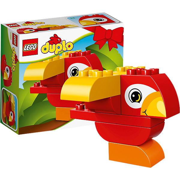LEGO DUPLO 10852: Моя первая птичкаПластмассовые конструкторы<br>LEGO DUPLO 10852: Моя первая птичка<br><br>Характеристики:<br><br>- в набор входит: детали птички, инструкция<br>- состав: пластик<br>- количество деталей: 7<br>- размер коробки: 15 * 1,5 * 6 см.<br>- для детей в возрасте: от 1,5 до 3 лет<br>- Страна производитель: Дания/Китай/Чехия/<br><br>Легендарный конструктор LEGO (ЛЕГО) представляет серию «DUPLO» (Д?пло) для самых маленьких. Крупные детали безопасны для малышей, а интересная тематика, возможность фантазировать, собирать из конструктора свои фигуры и играть в него приведут кроху в восторг! Этот небольшой набор сразу и игрушка и конструктор. Яркие и отлично детализированные детали выполнены из очень качественного пластика. Ребенок сможет собирать из них райских птичек, располагая крылья и хохолок по-разному. Детали набора подходят ко всем другим наборам серии DUPLO. Играя с этим конструктором ребенок сможет развить внимание, память, моторику ручек, а также творческие способности. <br><br>Конструктор  LEGO DUPLO 10852: Моя первая птичка можно купить в нашем интернет-магазине.<br><br>Ширина мм: 159<br>Глубина мм: 139<br>Высота мм: 63<br>Вес г: 128<br>Возраст от месяцев: 12<br>Возраст до месяцев: 36<br>Пол: Унисекс<br>Возраст: Детский<br>SKU: 5002408