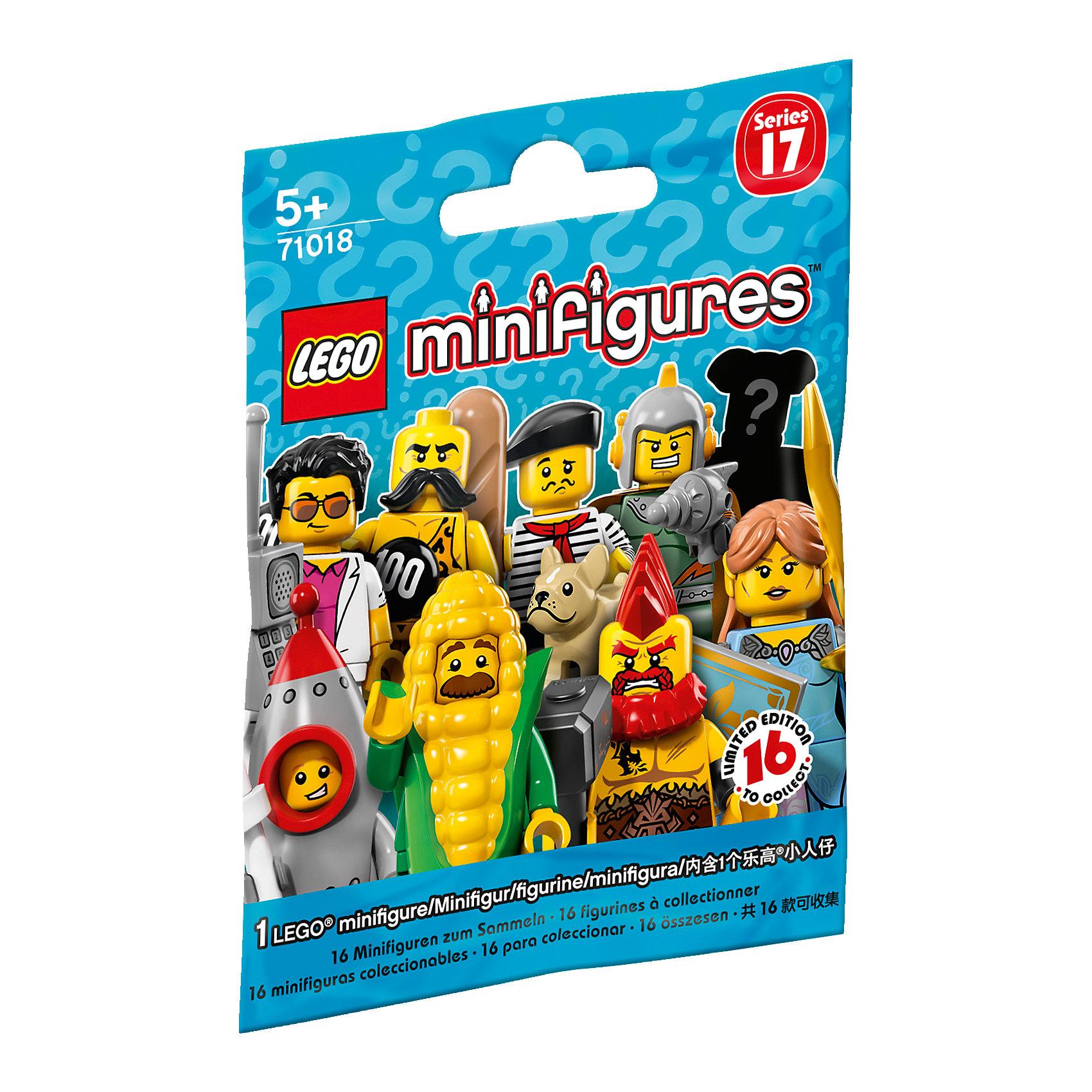 LEGO 71018: Минифигурки, серия 17Пластмассовые конструкторы<br>LEGO 71018: Минифигурки, серия 17<br><br>Характеристики:<br><br>- в набор входит: 1 минифигурка, демонстрационная пластина, коллекционная брошюра<br>- состав: пластик<br>- для детей в возрасте: от 5 до 14 лет<br>- Страна производитель: Дания/Китай/Чехия<br><br>Легендарный конструктор LEGO (ЛЕГО) представляет свои семнадцатую серию минифигурок – человечков ЛЕГО. <br><br>Каждая минифигурка подходит для игры с любым стандартным конструктором ЛЕГО (кроме серии LEGO Duplo). В индивидуальном пакетике скрыта одна из фигурок серии и нельзя заранее узнать какая именно. Если у вас уже есть наборы лего, то обновление человечков будет очень кстати, самые разнообразные фигурки привнесут много нового в игру. Все фигурки могут поворачивать головой, двигать руками и ногами, а также принимать сидячее положение. <br><br>Стандартные ручки минифигурок могут держать стандартные предметы ЛЕГО, некоторые минифигурки серии идут в комплекте с аксессуарами. Фигурки выглядят ярко, очень качественно проработаны в деталях и рисунках, некоторые имеют по два выражения лица. Сюрприз и игрушка ожидают вас с каждым таинственным пакетиком минифигурок ЛЕГО серии 17, какая именно попадется вам? Наполните свой лего-город новыми героями серии!<br><br>LEGO 71018: Минифигурки, серия 17 можно купить в нашем интернет-магазине.<br><br>Ширина мм: 116<br>Глубина мм: 88<br>Высота мм: 15<br>Вес г: 12<br>Возраст от месяцев: 60<br>Возраст до месяцев: 144<br>Пол: Унисекс<br>Возраст: Детский<br>SKU: 5002410