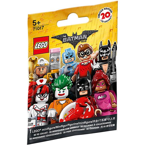 LEGO 71017: Минифигурки ЛЕГО Фильм: БэтменПластмассовые конструкторы<br>LEGO 71017: Минифигурки ЛЕГО Фильм: Бэтмен<br><br>Характеристики:<br>- в набор входит: 1 минифигурка, демонстрационная пластина, брошюра<br>- состав: пластик<br>- для детей в возрасте: от 5 до 14 лет<br>- Страна производитель: Дания/Китай/Чехия<br><br>Легендарный конструктор LEGO (ЛЕГО) представляет серию «Batman Movie» (Бэтмен Муви) по сюжету одноименного лего мультфильма. Серия понравится любителям комиксов DC и историй о Бэтмене. <br><br>В серию минифигурок вошли целых 20 персонажей. В каждой упаковке одна минифигурка-сюрпиз, какая именно попадется вам? Это могут быть: Дик Грейсон в очках, простом свитере и отпугивателем акул в руках (Робин, помощник Бетмена); Зодиак Мастер с аксессуарами; медсестра Харли Квин с историей болезни Джокера; Комиссар Гордон с рацией и листовкой о поиске опасного злодея Джокера; Мим, вооруженная двумя молниями; глэм-металл Бэтмен с электрогитарой, плащом, наплечниками и принтом летучей мыши на маске; новый злодей Калькулятор; Человек-Касатка; <br><br>доисторичейский Бэтмен с коричневым плащом и внушительной дубиной; Кэтмен с металлическими когтями; злодей Красный Колпак с бластерами; Бэтмен Фея в розовой пачке с крылышками и с волшебной палочкой; Бэтгёрл сила розового в розовой юбочке, розовом плаще и с розовым бэторангом; король-фараон Тут с посохом в виде кобры и змеей в руках; Марч Харриет в головном уборе в виде кролика и с оружием в руках; Бэтмен на отдыхе в плавательных очках, надувном круге и съемных ластах; Джокер из лечебницы Аркхэм; Барбара Гордон в униформе с наручниками и кнопкой бетсигнала; преступник Стиратель с головой в виде ластика и злым планом по удалению; любитель лобстеров Бэтмен в роскошном халате и с лобстером на тарелке в руке. Наполните свой лего-город героями из «Batman Movie» (Бэтмен Муви)!<br><br>LEGO 71017: Минифигурки ЛЕГО Фильм: Бэтмен можно купить в нашем интернет-магазине.<br>Ширина мм: 114; Глубина мм: 90; Высота мм: 17; Вес г: 8;