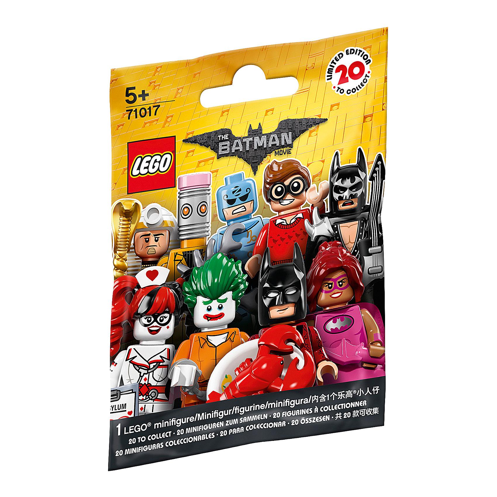 LEGO 71017: Минифигурки ЛЕГО Фильм: БэтменПластмассовые конструкторы<br>LEGO 71017: Минифигурки ЛЕГО Фильм: Бэтмен<br><br>Характеристики:<br>- в набор входит: 1 минифигурка, демонстрационная пластина, брошюра<br>- состав: пластик<br>- для детей в возрасте: от 5 до 14 лет<br>- Страна производитель: Дания/Китай/Чехия<br><br>Легендарный конструктор LEGO (ЛЕГО) представляет серию «Batman Movie» (Бэтмен Муви) по сюжету одноименного лего мультфильма. Серия понравится любителям комиксов DC и историй о Бэтмене. <br><br>В серию минифигурок вошли целых 20 персонажей. В каждой упаковке одна минифигурка-сюрпиз, какая именно попадется вам? Это могут быть: Дик Грейсон в очках, простом свитере и отпугивателем акул в руках (Робин, помощник Бетмена); Зодиак Мастер с аксессуарами; медсестра Харли Квин с историей болезни Джокера; Комиссар Гордон с рацией и листовкой о поиске опасного злодея Джокера; Мим, вооруженная двумя молниями; глэм-металл Бэтмен с электрогитарой, плащом, наплечниками и принтом летучей мыши на маске; новый злодей Калькулятор; Человек-Касатка; <br><br>доисторичейский Бэтмен с коричневым плащом и внушительной дубиной; Кэтмен с металлическими когтями; злодей Красный Колпак с бластерами; Бэтмен Фея в розовой пачке с крылышками и с волшебной палочкой; Бэтгёрл сила розового в розовой юбочке, розовом плаще и с розовым бэторангом; король-фараон Тут с посохом в виде кобры и змеей в руках; Марч Харриет в головном уборе в виде кролика и с оружием в руках; Бэтмен на отдыхе в плавательных очках, надувном круге и съемных ластах; Джокер из лечебницы Аркхэм; Барбара Гордон в униформе с наручниками и кнопкой бетсигнала; преступник Стиратель с головой в виде ластика и злым планом по удалению; любитель лобстеров Бэтмен в роскошном халате и с лобстером на тарелке в руке. Наполните свой лего-город героями из «Batman Movie» (Бэтмен Муви)!<br><br>LEGO 71017: Минифигурки ЛЕГО Фильм: Бэтмен можно купить в нашем интернет-магазине.<br><br>Ширина мм: 114<br>Глубина мм: 90<br>Высота мм: 17<br