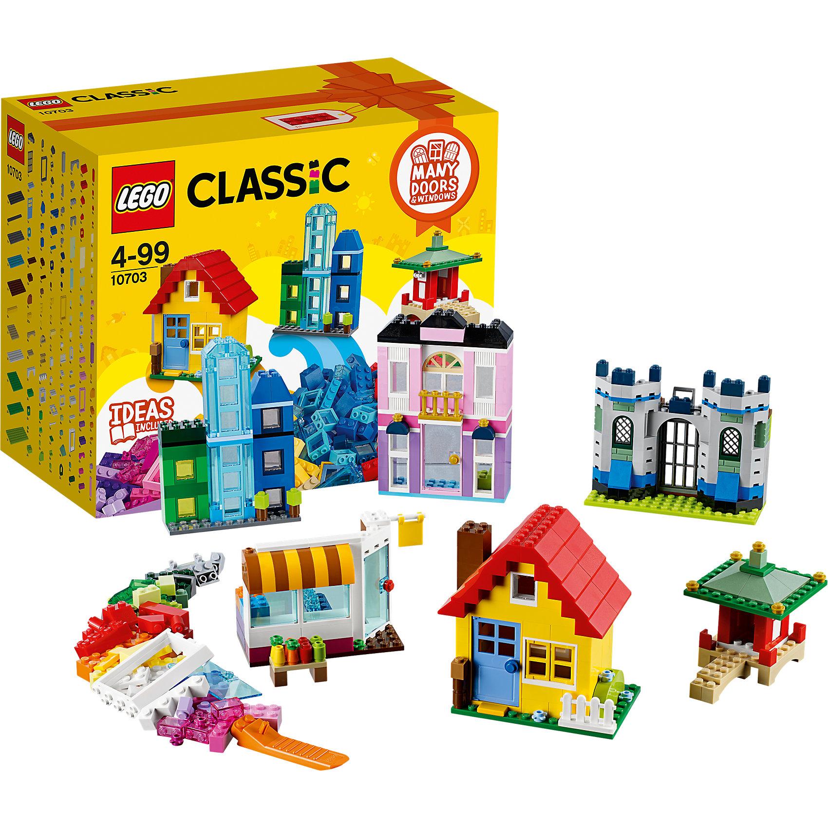 LEGO Classic 10703: Набор для творческого конструированияПластмассовые конструкторы<br>LEGO Classic 10703: Набор для творческого конструирования<br><br>Характеристики:<br><br>- в набор входит: детали зданий, аксессуары, красочная инструкция<br>- состав: пластик<br>- количество деталей: 502 <br>- размер упаковки: 26 * 14 * 22 см.<br>- для детей в возрасте: от 4 лет<br>- Страна производитель: Дания/Китай/Чехия<br><br>Легендарный конструктор LEGO (ЛЕГО) представляет серию «Classic» (Классик), предназначенную для свободного конструирования. В наборы этой серии включены разнообразные детали, позволяющие строить в свое удовольствие и на свое усмотрение. Данный набор посвящен постройке зданий, в него входит более 9 типов различных окон, четыре типа дверей и блоки двенадцати цветов для постройки дома своей мечты. Набор предлагает сооружать постройку магазина, городских зданий, замка принцессы или серьезного рыцарского замка, постройки в китайском стиле и классический домик, который можно открывать и поселить в него маленьких кукол (в наборе отсутствуют). Для реалистичности в набор добавлены детали аксессуары в виде овощей и фруктов для магазина, небольшой детали ограды для домика, вывески-флажка, прозрачных пластиковых деталей для постройки стеклянного дома, небольших деталек золотого цвета для замка принцессы, рельефный деталей в виде кирпичей для замка рыцаря, детали своды для построек восточного стиля. Воплотите в жизнь свои идеи с помощью набора LEGO «Classic»!<br><br>Конструктор LEGO Classic 10703: Набор для творческого конструирования можно купить в нашем интернет-магазине.<br><br>Ширина мм: 266<br>Глубина мм: 220<br>Высота мм: 144<br>Вес г: 909<br>Возраст от месяцев: 48<br>Возраст до месяцев: 144<br>Пол: Унисекс<br>Возраст: Детский<br>SKU: 5002413