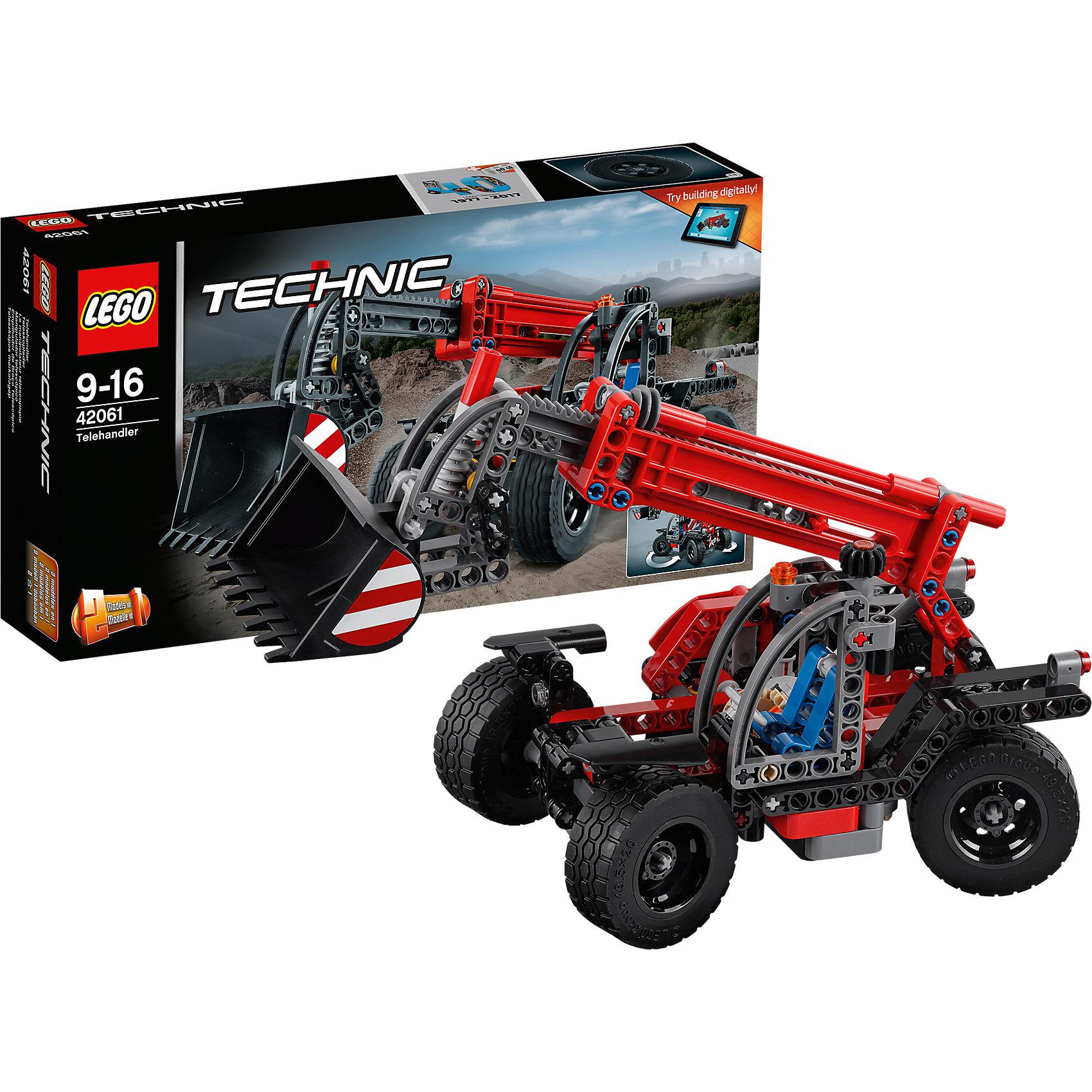 LEGO Technic 42061: Телескопический погрузчикПластмассовые конструкторы<br>LEGO Technic 42061: Телескопический погрузчик<br><br>Характеристики:<br><br>- в набор входит: детали погрузчика, наклейки, инструкция по сборке<br>- состав: пластик<br>- количество деталей: 260<br>- приблизительное время сборки: 30 мин.<br>- размер упаковки: 35 * 7 * 19 см.<br>- размер погрузчика: 25,5 * 11 * 12 см.<br>- для детей в возрасте: от 9 до 16 лет<br>- Страна производитель: Дания/Китай/Чехия<br><br>Легендарный конструктор LEGO (ЛЕГО) представляет серию «Technic», которая бросает вызов уже опытным строителям ЛЕГО. Ваш ребенок может строить продвинутые модели с реальными функциями, такими как коробки передач и системы рулевого управления. В набор включена уникальная деталь, посвященная сорокалетию серии. Наслаждайтесь строительством реалистичного погрузчика с четырьмя поворачивающимися и регулируемыми колесами. <br><br>Детализированная открытая кабина с рулем и креслом для рабочего понравится фанатам моделей. Новые механизмы и новые детали этого набора позволяют ковшу подниматься, выдвигаться вперед и медленно опрокидывать его содержимое. Система поворота колес имеет интересный цепной механизм, регулируемый одним рычагом сразу четыре колеса, маневренность погрузчика значительно увеличивается за счет этого механизма. Телескопический погрузчик перестраивается в еще одну модель – экскаватор, обе модели имеют дополнительные объемные интерактивные инструкции на вебсайте ЛЕГО. <br><br>Играя с конструктором ребенок развивает моторику рук, воображение и логическое мышление, научится собирать по инструкции и создавать свои модели. Принимайте новые вызовы по сборке моделей и придумывайте новые истории с набором LEGO «Technic»!<br><br>Конструктор LEGO Technic 42061: Телескопический погрузчик можно купить в нашем интернет-магазине.<br><br>Ширина мм: 356<br>Глубина мм: 192<br>Высота мм: 76<br>Вес г: 573<br>Возраст от месяцев: 108<br>Возраст до месяцев: 192<br>Пол: Мужской<br>Возраст: Детский<br>SK