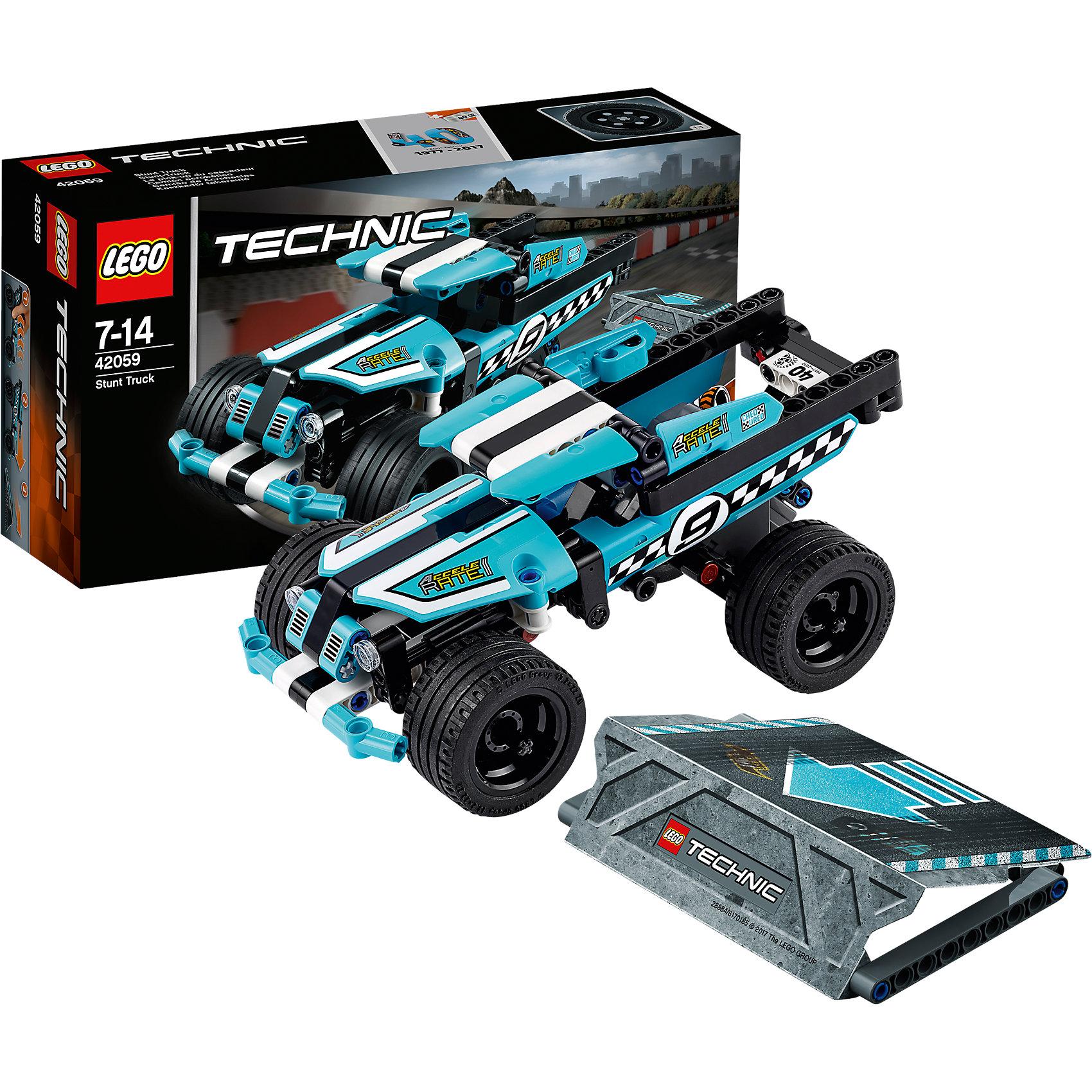 LEGO Technic 42059: Трюковой грузовикПластмассовые конструкторы<br>LEGO Technic 42059: Трюковой грузовик<br><br>Характеристики:<br><br>- в набор входит: детали грузовика и рампы, наклейки, инструкция по сборке<br>- состав: пластик<br>- количество деталей: 142<br>- приблизительное время сборки: 25 мин.<br>- размер грузовика: 18 * 9 * 8 см.<br>- размер рампы: 9 * 12 * 2 см.<br>- для детей в возрасте: от 7 до 14 лет<br>- Страна производитель: Дания/Китай/Чехия<br><br>Легендарный конструктор LEGO (ЛЕГО) представляет серию «Technic», которая бросает вызов уже опытным строителям ЛЕГО. Ваш ребенок может строить продвинутые модели с реальными функциями, такими как коробки передач и системы рулевого управления. В набор включена уникальная деталь, посвященная сорокалетию серии. <br><br>Наслаждайтесь строительством нового трюкового грузовика с заводным механизмом, позволяющим ему разгоняться за счет завода и спрыгивать с рампы из набора. Высокая подвеска больших колес грузовика впечатляет, а меленькие декоративные детали делают сам грузовик еще более реалистичным. Сборная рампа оснащена небольшими прорезиненными детали, благодаря чему она не сдвигается при исполнении трюков. Набор комбинируется с LEGO Technic 42058: Мотоцикл для трюков. <br><br>Играя с конструктором ребенок развивает моторику рук, воображение и логическое мышление, научится собирать по инструкции и создавать свои модели. Принимайте новые вызовы по сборке моделей и придумывайте новые истории с набором LEGO «Technic»!<br><br>Конструктор LEGO Technic 42059: Трюковой грузовик можно купить в нашем интернет-магазине.<br><br>Ширина мм: 265<br>Глубина мм: 142<br>Высота мм: 73<br>Вес г: 314<br>Возраст от месяцев: 84<br>Возраст до месяцев: 168<br>Пол: Мужской<br>Возраст: Детский<br>SKU: 5002415