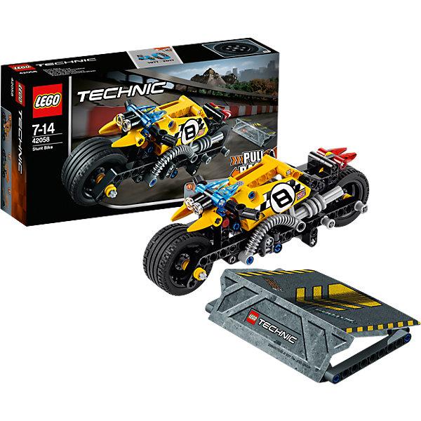LEGO Technic 42058: Мотоцикл для трюковПластмассовые конструкторы<br>LEGO Technic 42058: Мотоцикл для трюков<br><br>Характеристики:<br><br>- в набор входит: детали мотоцикла и рампы, наклейки, инструкция по сборке<br>- состав: пластик<br>- количество деталей: 140<br>- приблизительное время сборки: 25 мин.<br>- размер мотоцикла: 18 * 7 * 7 см.<br>- размер рампы: 9 * 12 * 2 см.<br>- для детей в возрасте: от 7 до 14 лет<br>- Страна производитель: Дания/Китай/Чехия<br><br>Легендарный конструктор LEGO (ЛЕГО) представляет серию «Technic», которая бросает вызов уже опытным строителям ЛЕГО. Ваш ребенок может строить продвинутые модели с реальными функциями, такими как коробки передач и системы рулевого управления. В набор включена уникальная деталь, посвященная сорокалетию серии. <br><br>Наслаждайтесь строительством нового трюкового мотоцикла с заводным механизмом, позволяющим ему разгоняться за счет завода и спрыгивать с рампы из набора. Высоту переднего колеса можно регулировать, а маленькие декоративные детали делают вид мотоцикла еще более реалистичным. Сборная рампа оснащена небольшими прорезиненными детали, благодаря чему она не сдвигается при исполнении трюков. Набор комбинируется с LEGO Technic 42059: Трюковой грузовик. <br><br>Играя с конструктором ребенок развивает моторику рук, воображение и логическое мышление, научится собирать по инструкции и создавать свои модели. Принимайте новые вызовы по сборке моделей и придумывайте новые истории с набором LEGO «Technic»!<br><br>Конструктор LEGO Technic 42058: Мотоцикл для трюков можно купить в нашем интернет-магазине.<br><br>Ширина мм: 265<br>Глубина мм: 144<br>Высота мм: 63<br>Вес г: 241<br>Возраст от месяцев: 84<br>Возраст до месяцев: 168<br>Пол: Мужской<br>Возраст: Детский<br>SKU: 5002416