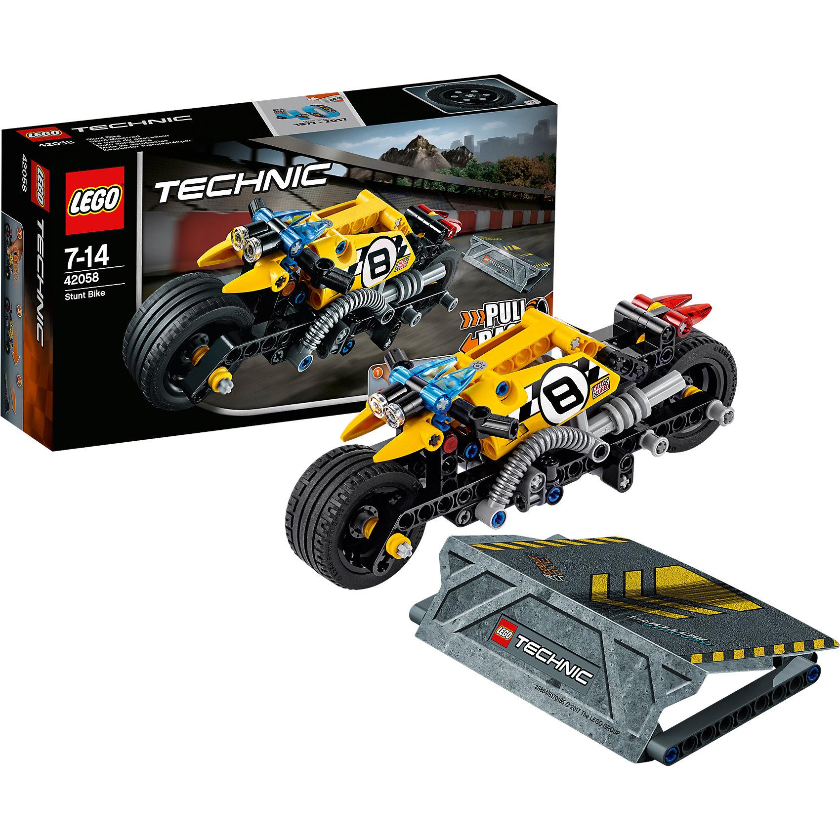 LEGO Technic 42058: Мотоцикл для трюковПластмассовые конструкторы<br>LEGO Technic 42058: Мотоцикл для трюков<br><br>Характеристики:<br><br>- в набор входит: детали мотоцикла и рампы, наклейки, инструкция по сборке<br>- состав: пластик<br>- количество деталей: 140<br>- приблизительное время сборки: 25 мин.<br>- размер мотоцикла: 18 * 7 * 7 см.<br>- размер рампы: 9 * 12 * 2 см.<br>- для детей в возрасте: от 7 до 14 лет<br>- Страна производитель: Дания/Китай/Чехия<br><br>Легендарный конструктор LEGO (ЛЕГО) представляет серию «Technic», которая бросает вызов уже опытным строителям ЛЕГО. Ваш ребенок может строить продвинутые модели с реальными функциями, такими как коробки передач и системы рулевого управления. В набор включена уникальная деталь, посвященная сорокалетию серии. <br><br>Наслаждайтесь строительством нового трюкового мотоцикла с заводным механизмом, позволяющим ему разгоняться за счет завода и спрыгивать с рампы из набора. Высоту переднего колеса можно регулировать, а маленькие декоративные детали делают вид мотоцикла еще более реалистичным. Сборная рампа оснащена небольшими прорезиненными детали, благодаря чему она не сдвигается при исполнении трюков. Набор комбинируется с LEGO Technic 42059: Трюковой грузовик. <br><br>Играя с конструктором ребенок развивает моторику рук, воображение и логическое мышление, научится собирать по инструкции и создавать свои модели. Принимайте новые вызовы по сборке моделей и придумывайте новые истории с набором LEGO «Technic»!<br><br>Конструктор LEGO Technic 42058: Мотоцикл для трюков можно купить в нашем интернет-магазине.<br><br>Ширина мм: 265<br>Глубина мм: 144<br>Высота мм: 66<br>Вес г: 265<br>Возраст от месяцев: 84<br>Возраст до месяцев: 168<br>Пол: Мужской<br>Возраст: Детский<br>SKU: 5002416